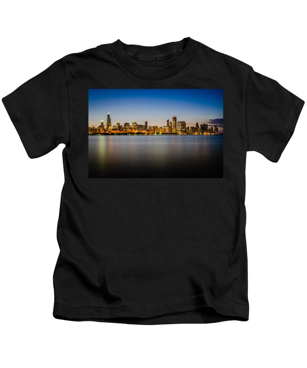 Chicago Kids T-Shirt featuring the photograph Chicago Skyline At Sunset by Anthony Doudt