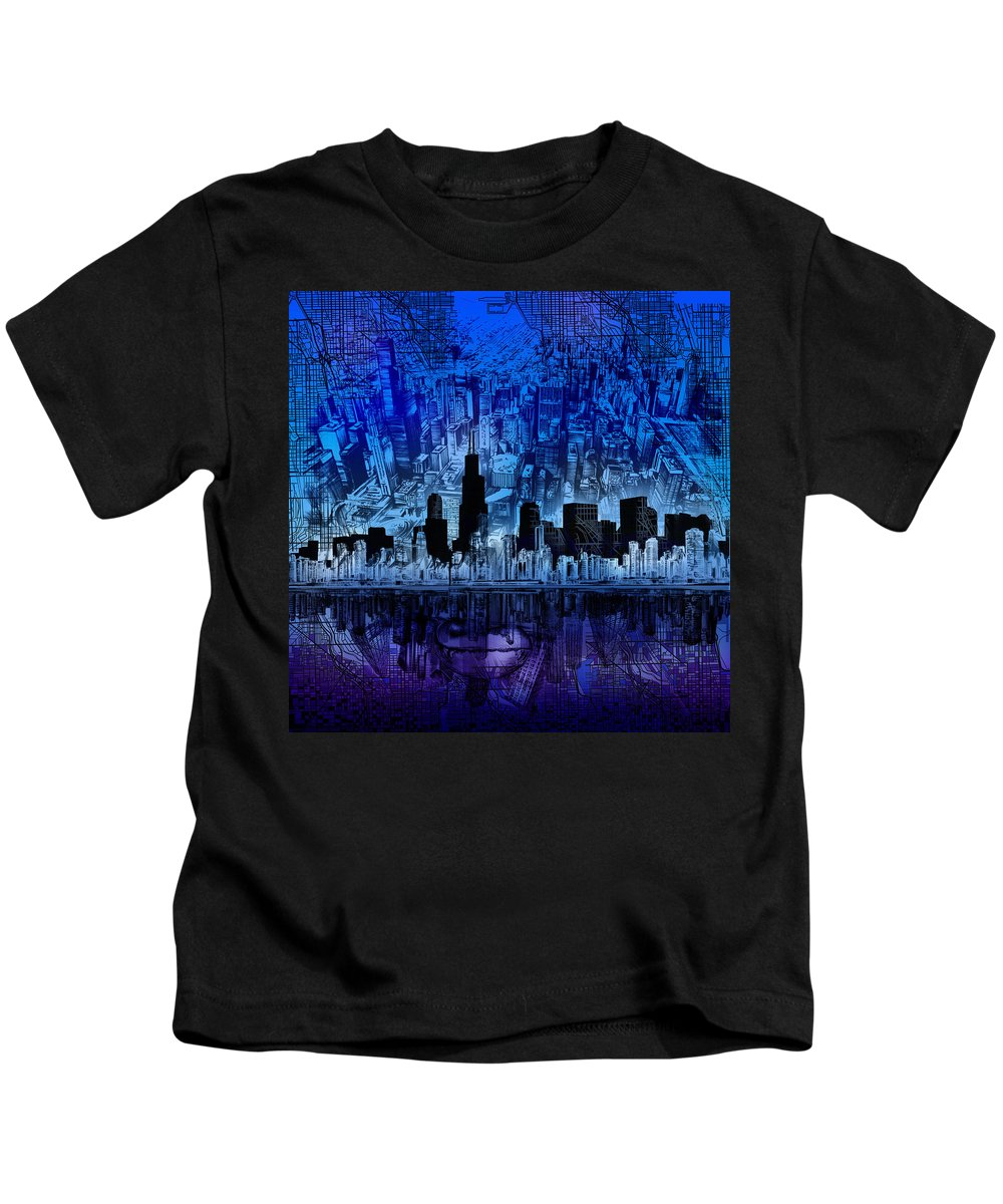 Chicago Skyline Kids T-Shirt featuring the painting Chicago Skyline Blue Version by Bekim M