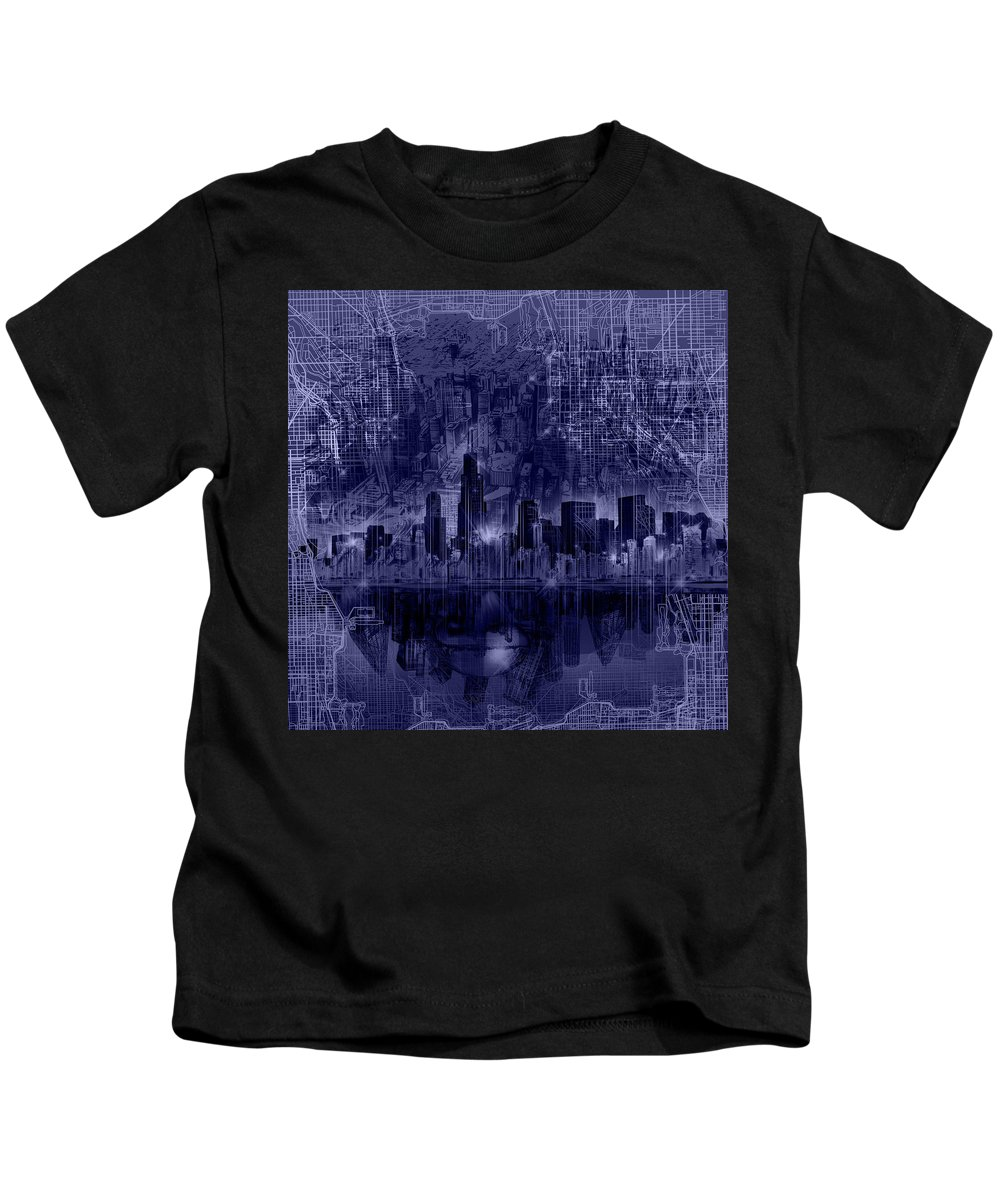 Chicago Skyline Kids T-Shirt featuring the painting Chicago Skyline Blueprint by Bekim M
