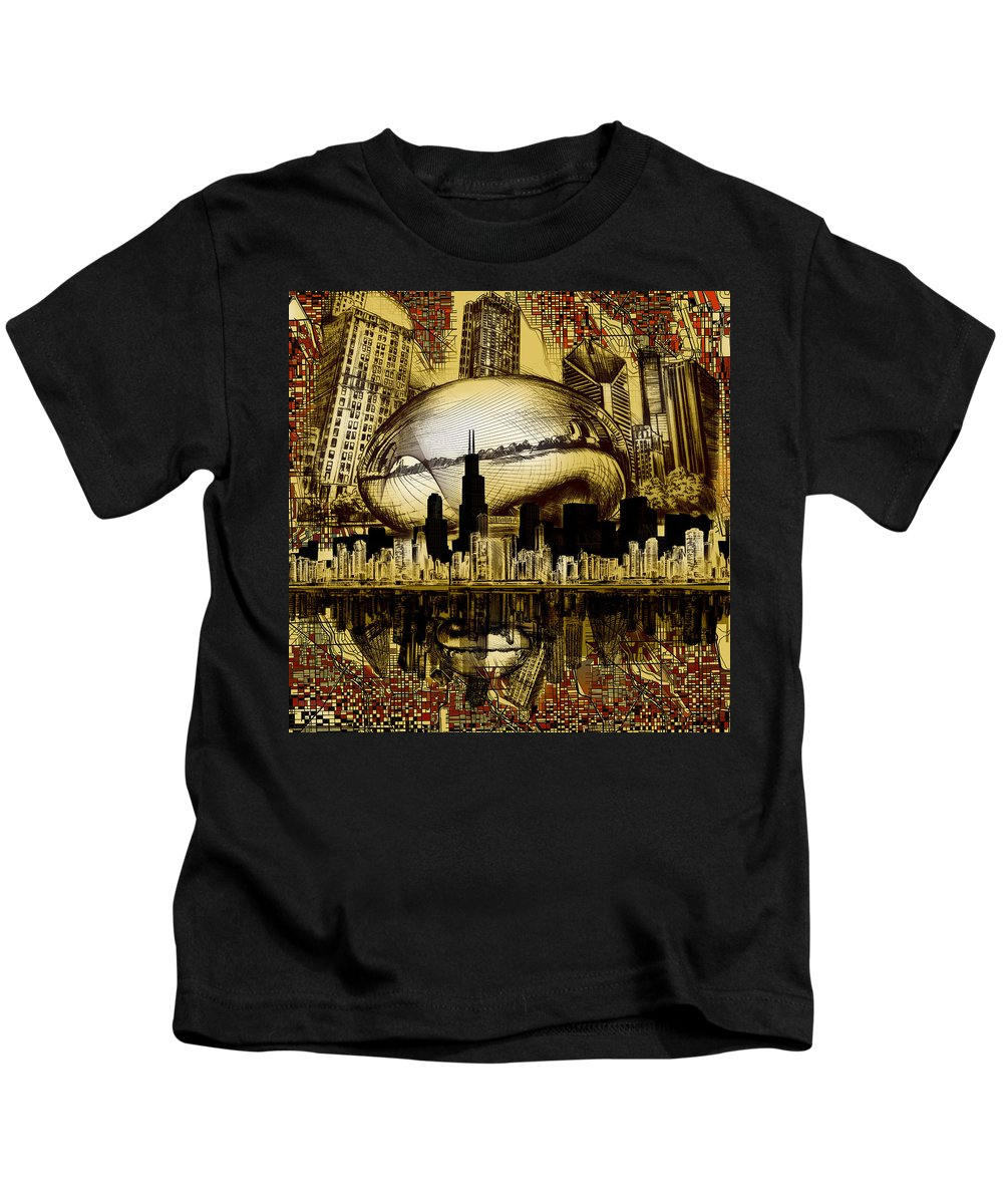 Chicago Skyline Kids T-Shirt featuring the digital art Chicago Skyline Drawing Collage 3 by Bekim M