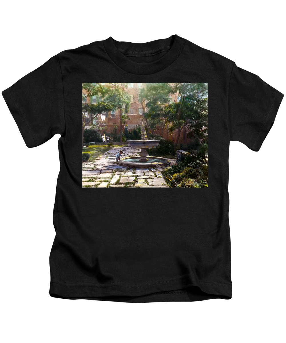 Tranquil Kids T-Shirt featuring the photograph Child And Fountain by Terry Reynoldson