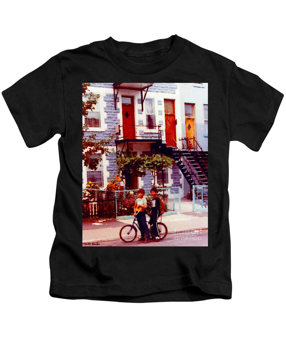 Kids T-Shirt featuring the painting Childhood Montreal Memories Balconies And Bikes The Boys Of Summer Our Streets Tell Our Story by Carole Spandau