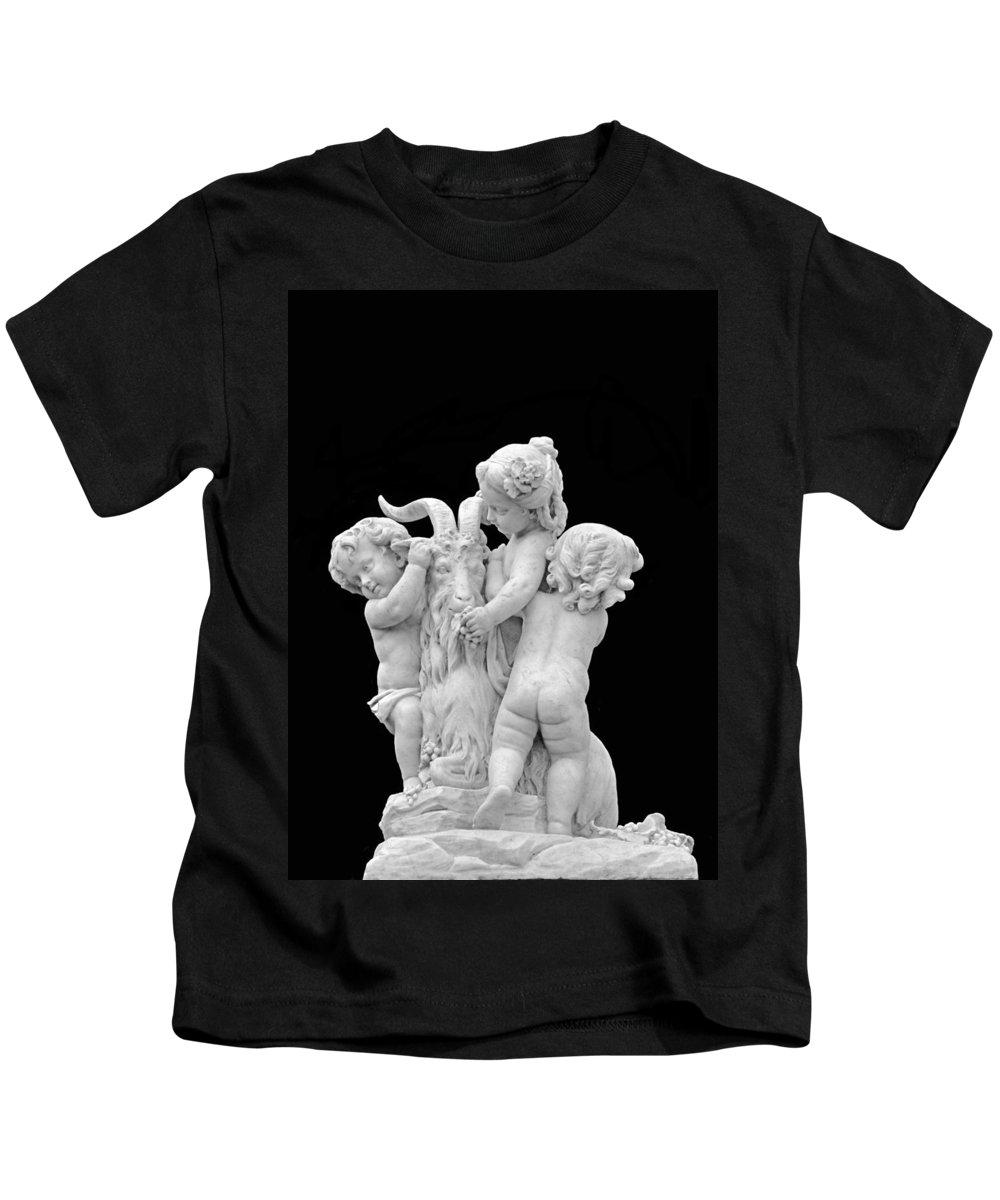 Children Kids T-Shirt featuring the photograph Children With Goat by Kristin Elmquist