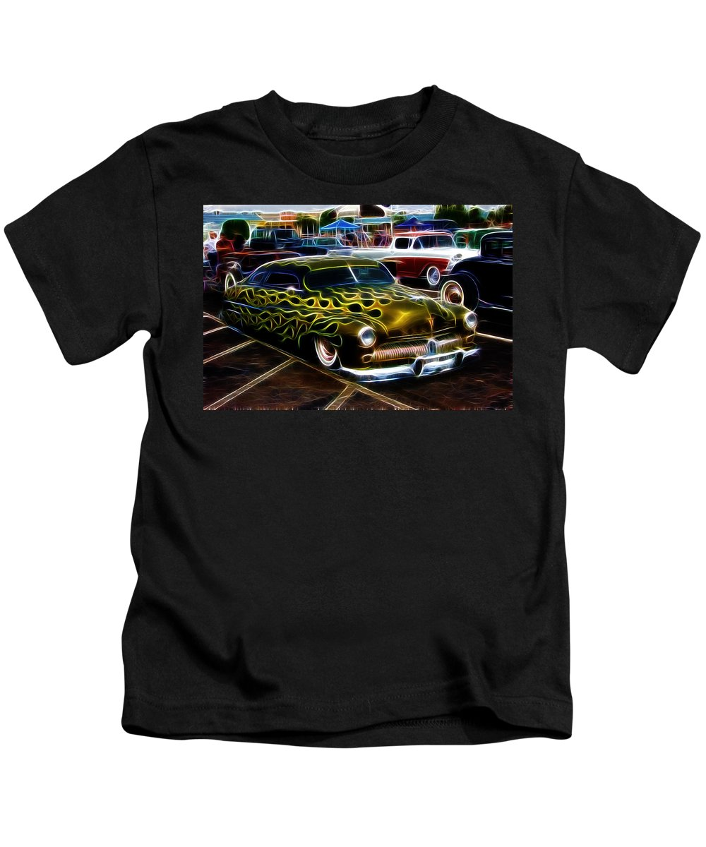 Drawing Kids T-Shirt featuring the photograph Chopped And Flamed by Steve McKinzie
