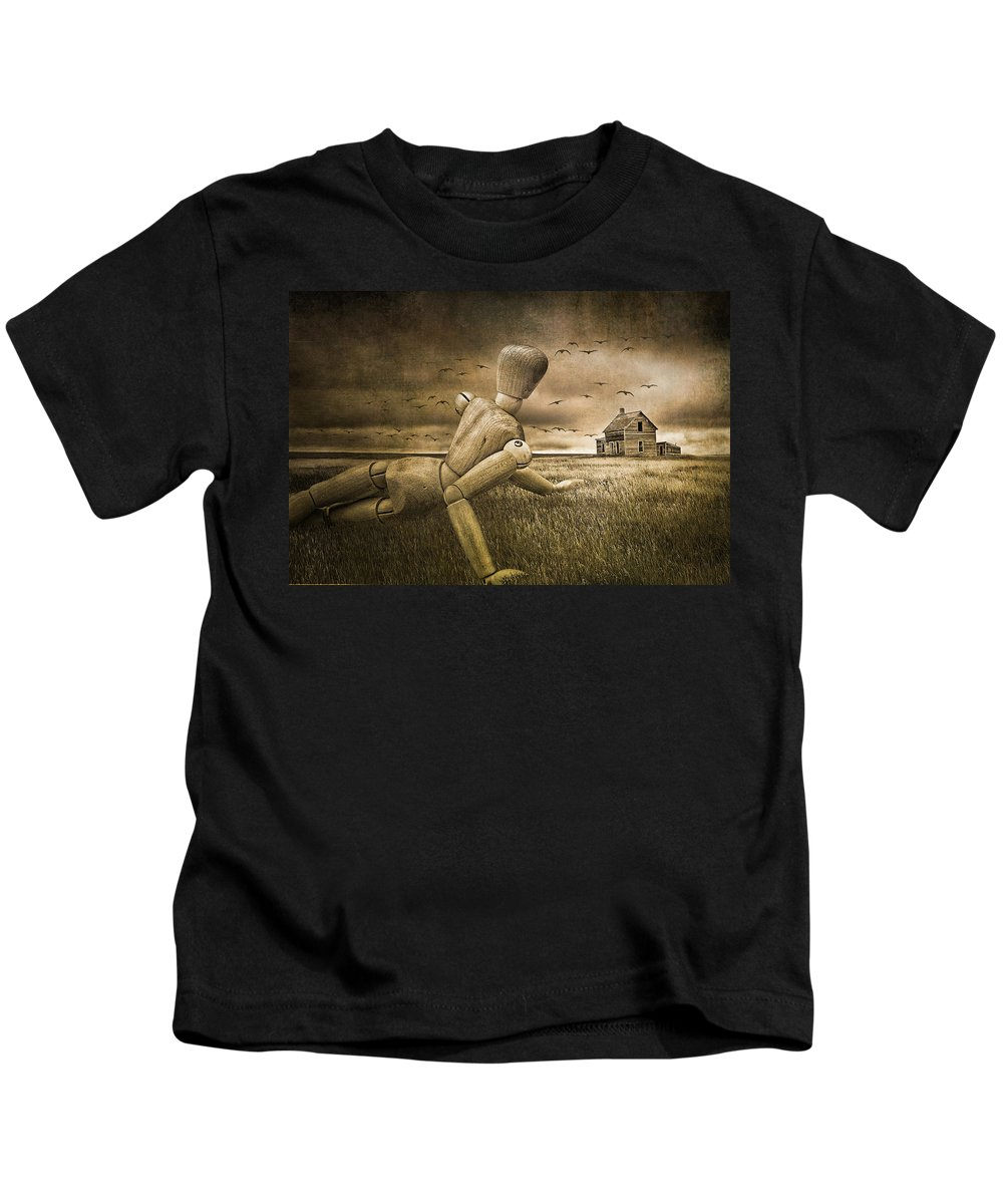Christina's World Revisited Kids T-Shirt featuring the photograph Christina's World Revisited by Randall Nyhof