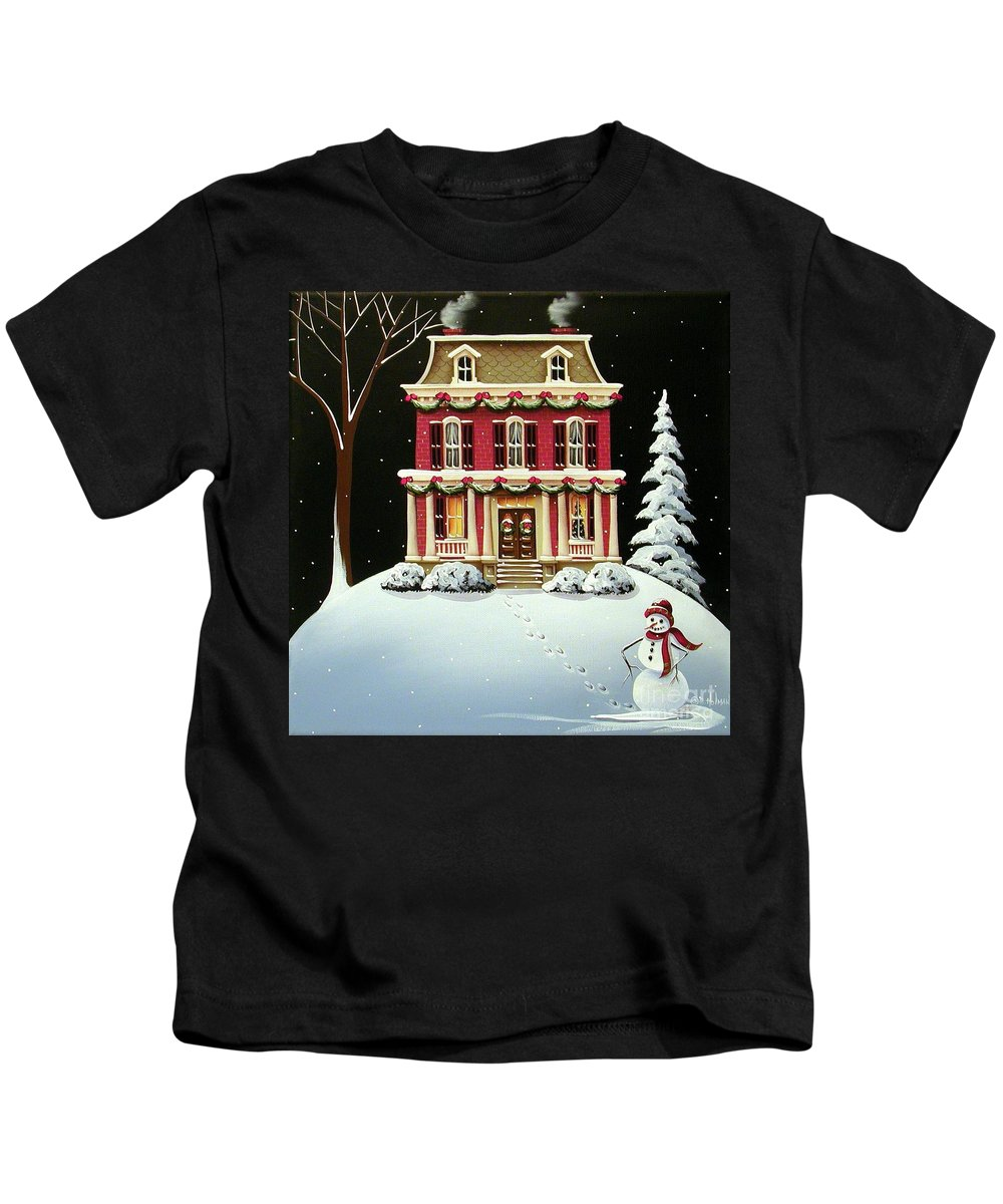 Art Kids T-Shirt featuring the painting Christmas At Grandma And Grandpa's by Catherine Holman