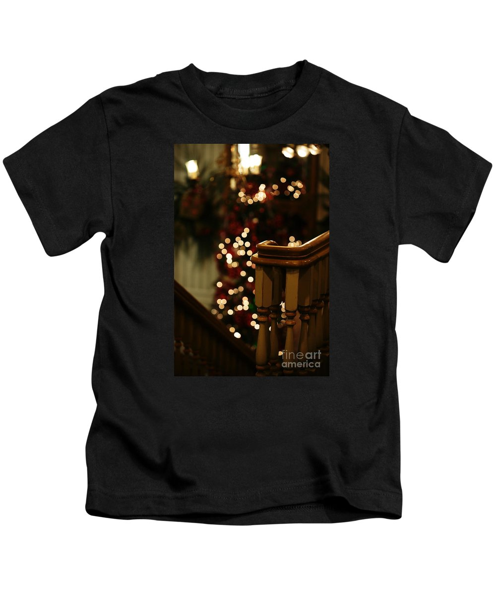 Christmas Kids T-Shirt featuring the photograph Christmas Banister 1 by Linda Shafer