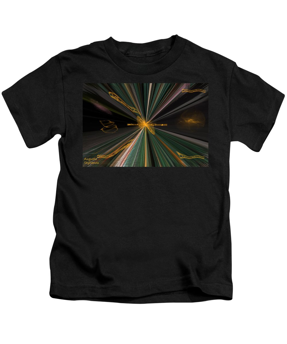 Augusta Stylianou Kids T-Shirt featuring the digital art Christmas Carols by Augusta Stylianou