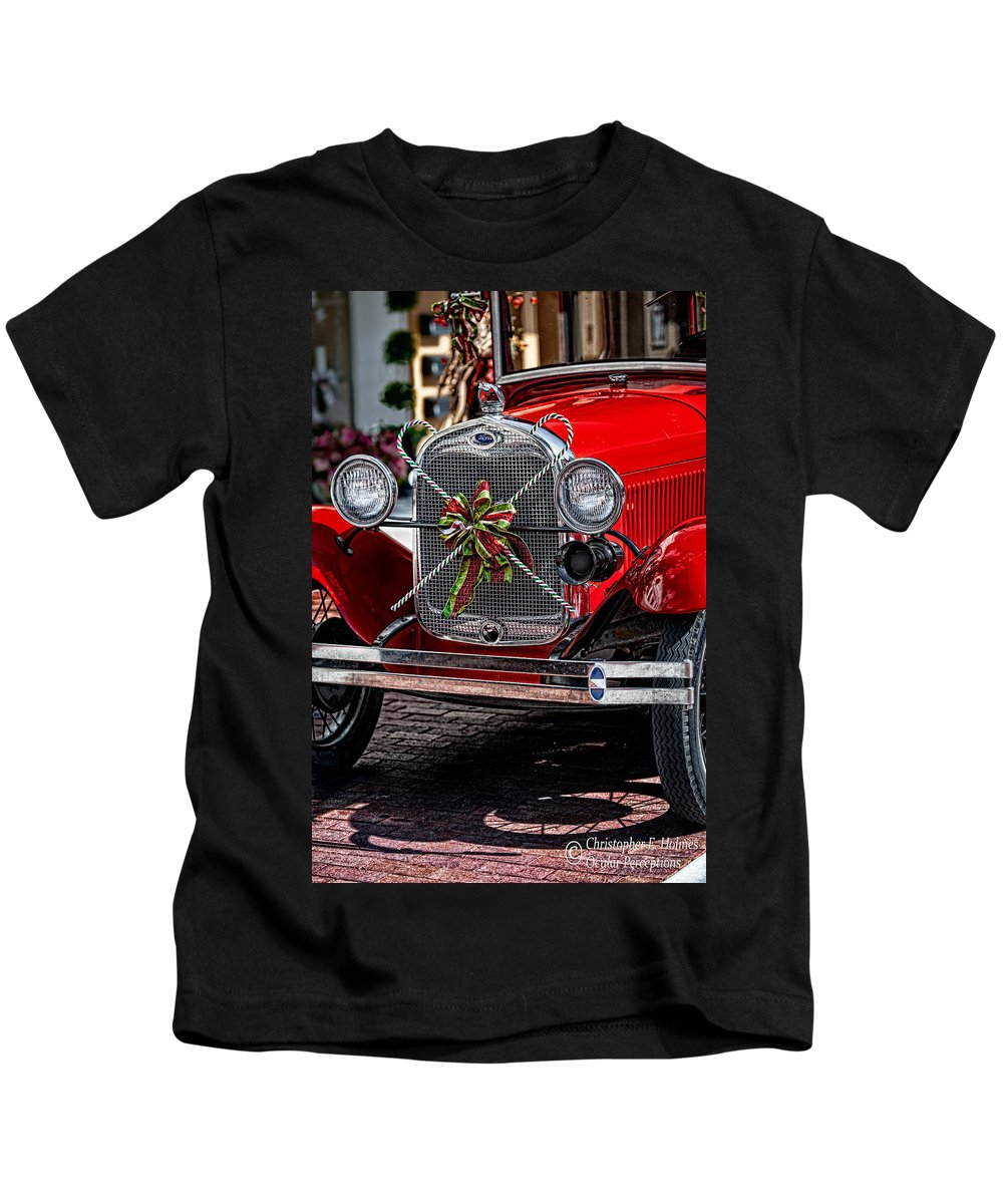 Ford Kids T-Shirt featuring the photograph Christmas Grillwork by Christopher Holmes
