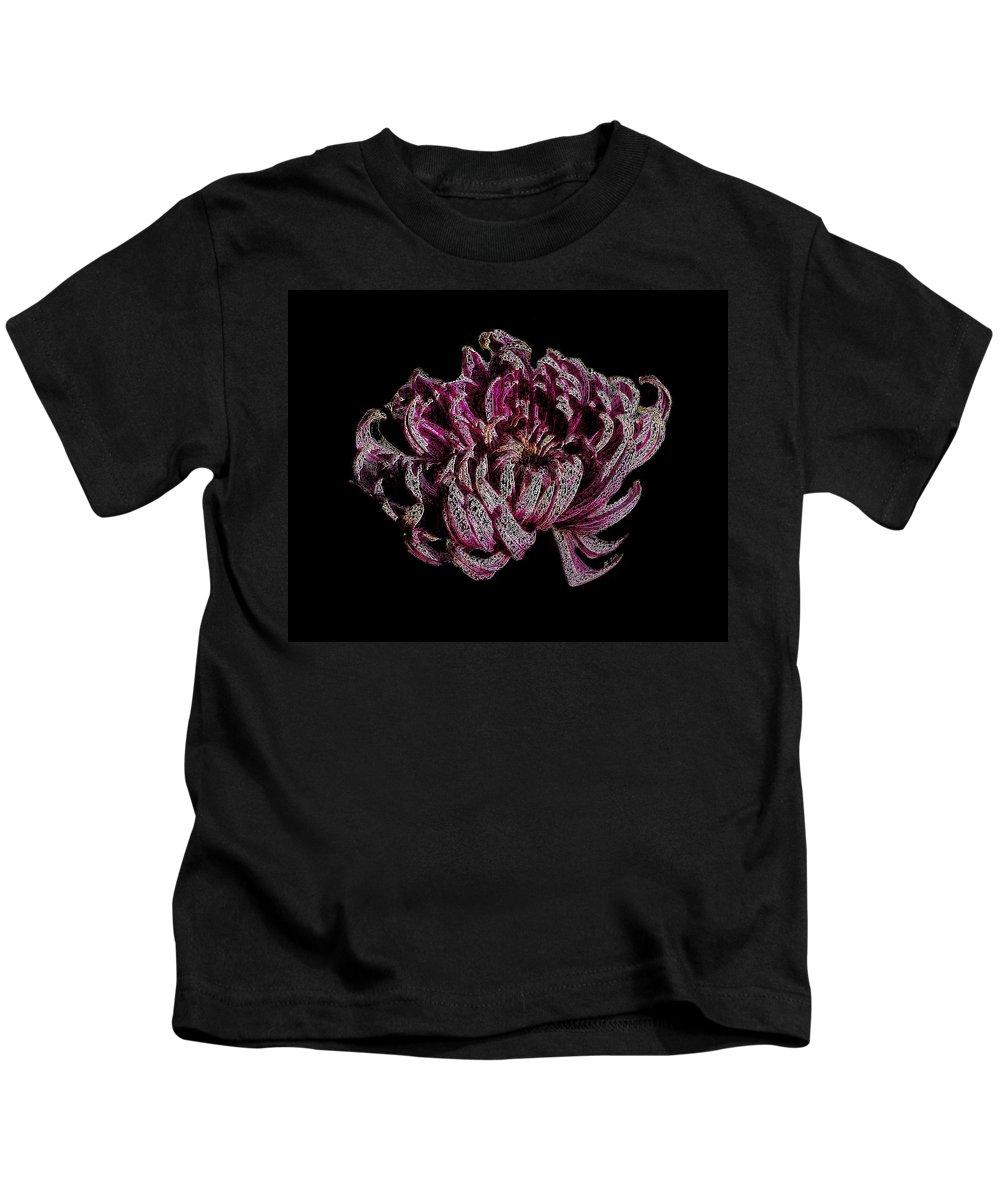 Flower Kids T-Shirt featuring the digital art Chrysanthemum Scribble by Stephanie Grant