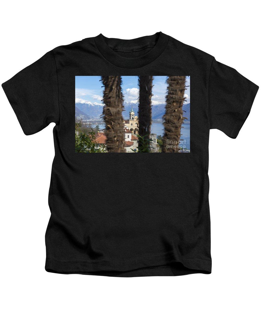 Church Kids T-Shirt featuring the photograph Church Madonna Del Sasso by Mats Silvan