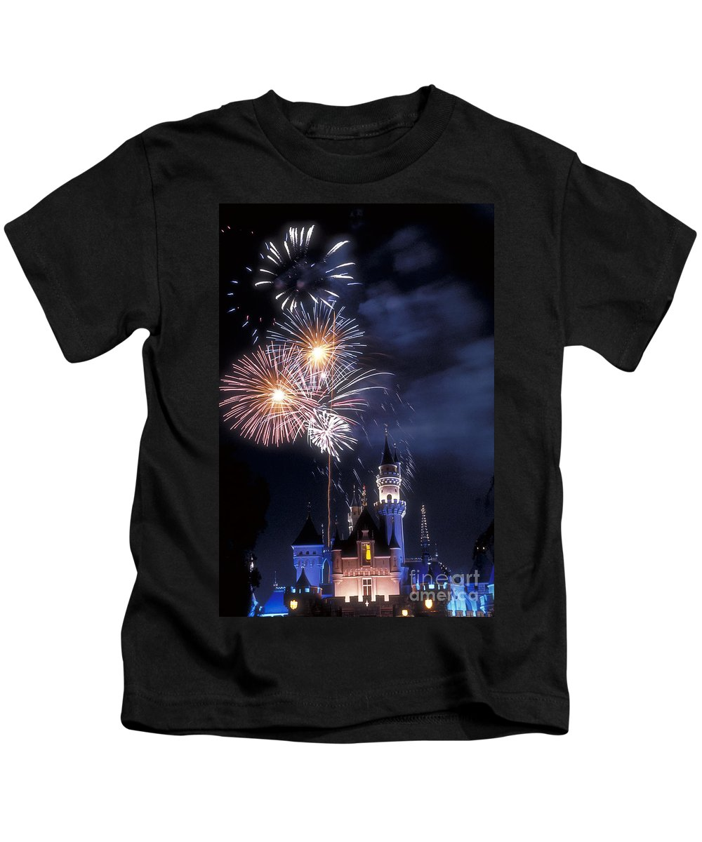 Fireworks Display Kids T-Shirt featuring the photograph Cinderella Castle Fireworks Iconic Fairy-tale Fortress Fantasyland by David Zanzinger