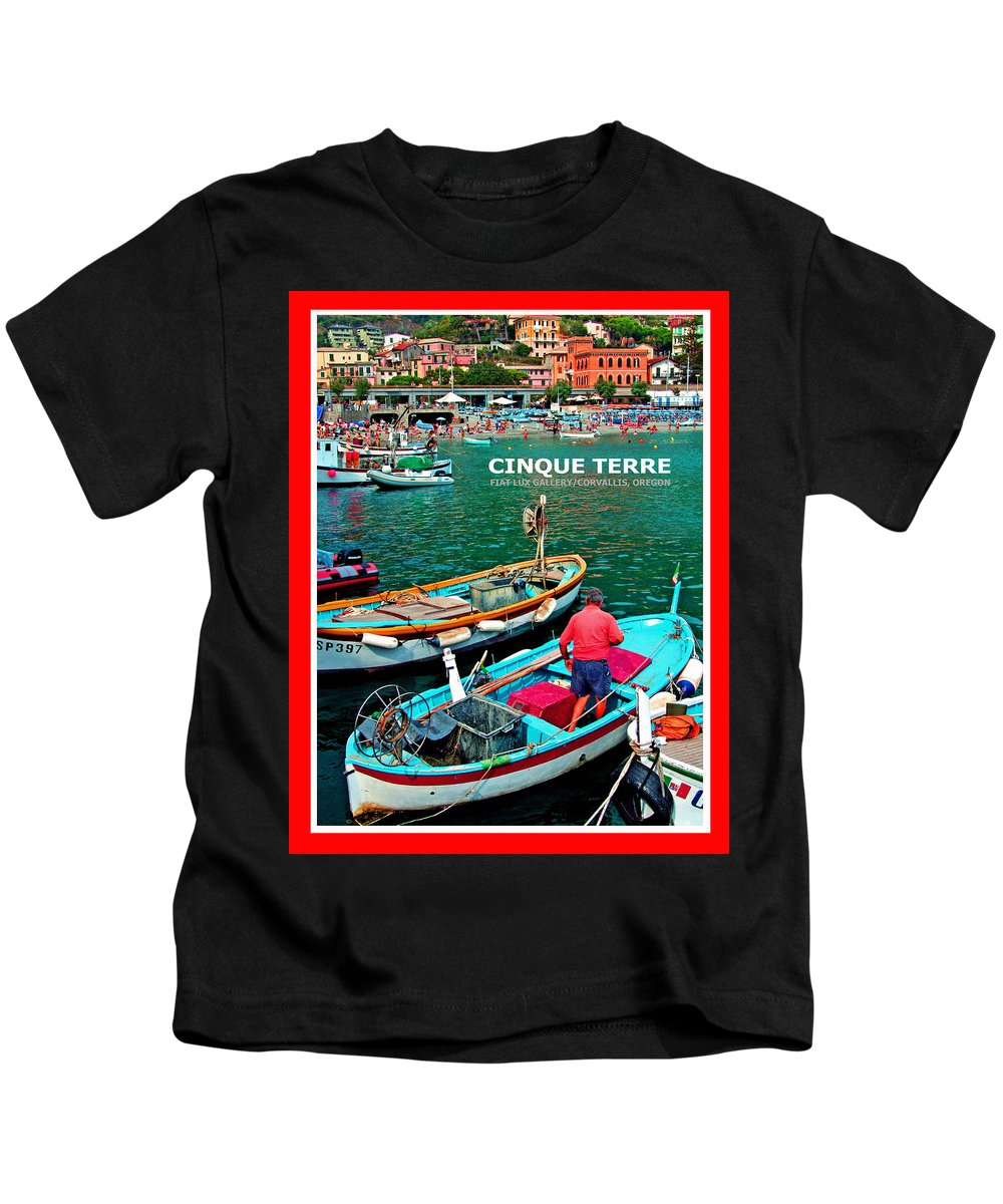 Monterosso. Cinque Terre. Italy. Travel Posters. Harbor Scenes. Kids T-Shirt featuring the photograph Cinque Terre Iv by Michael Moore