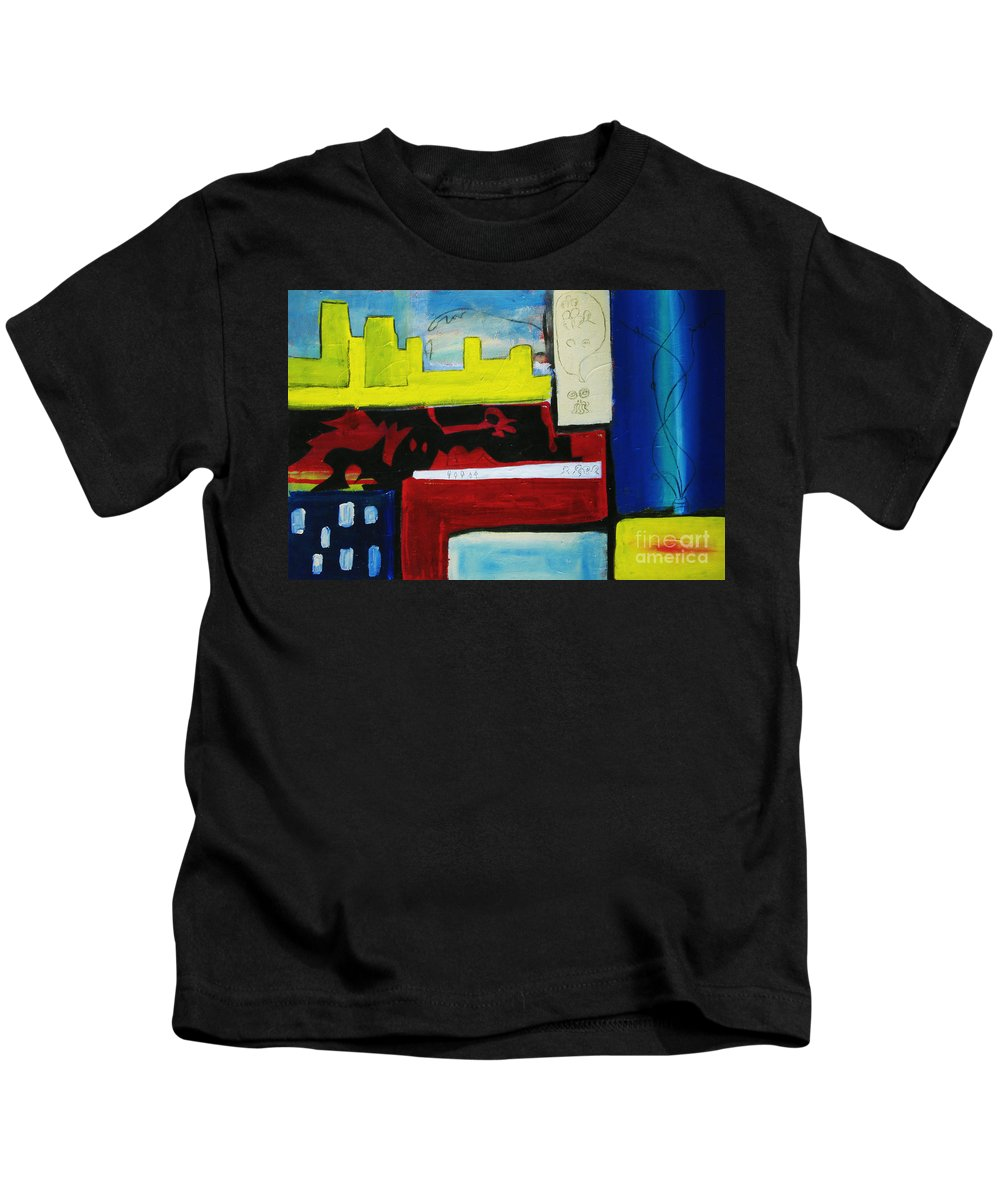 Painting Kids T-Shirt featuring the painting City Life by Jeff Barrett