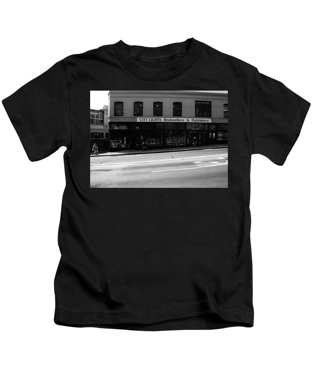 San Francisco Kids T-Shirt featuring the photograph City Lights Booksellers by Aidan Moran