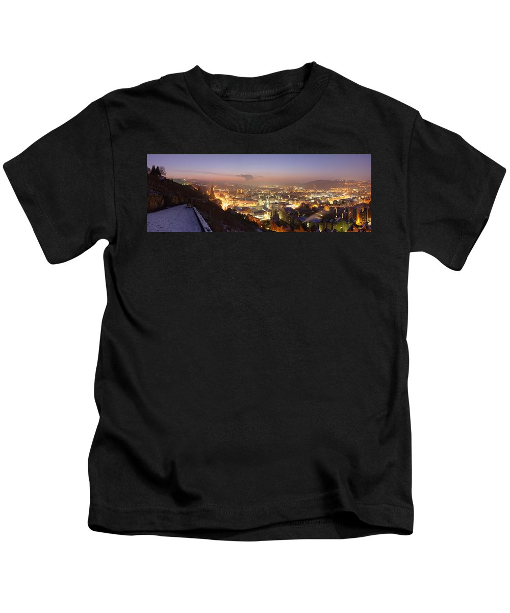 Photography Kids T-Shirt featuring the photograph City Lit Up At Night, Esslingen by Panoramic Images