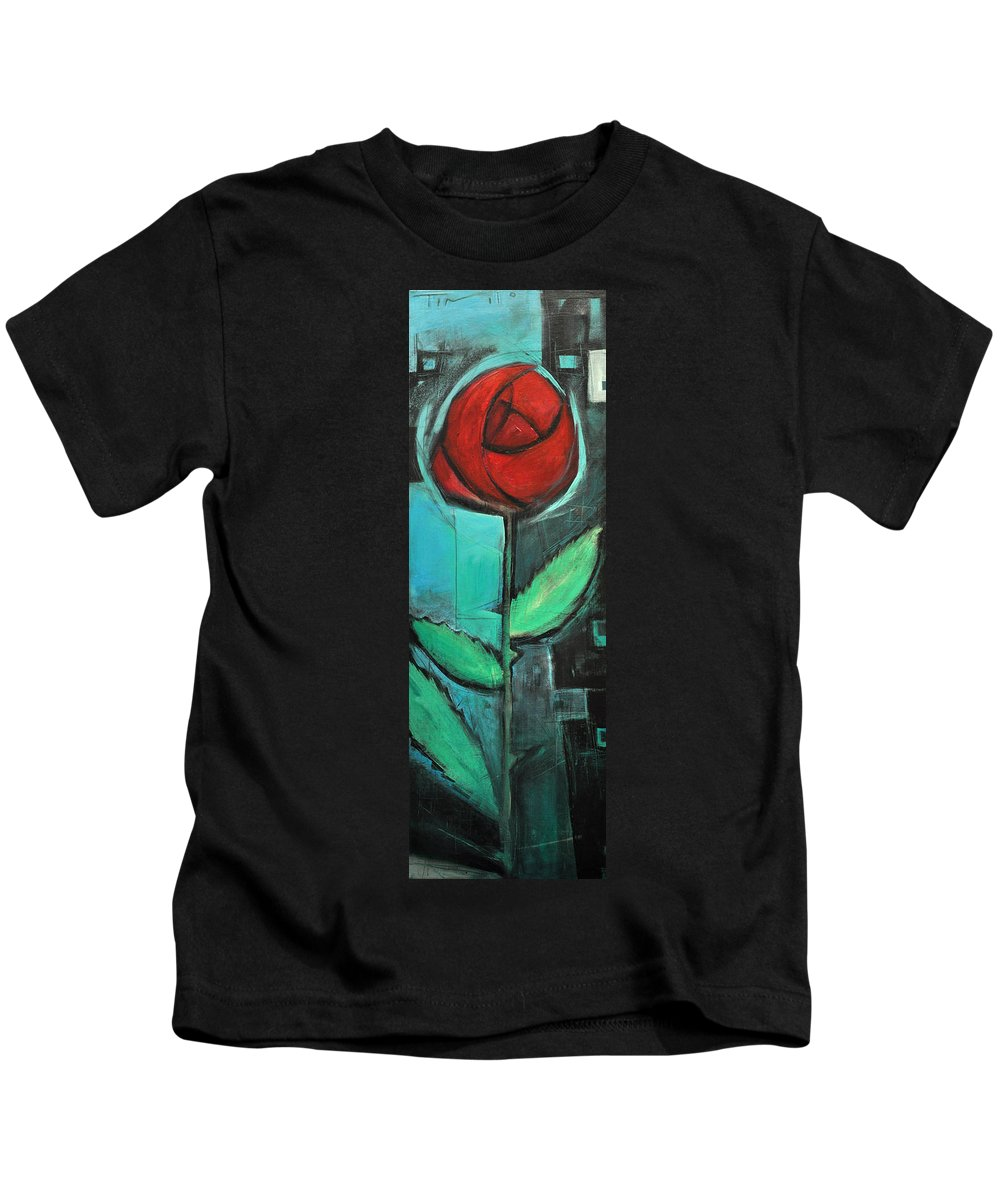 Rose Kids T-Shirt featuring the painting City Rose - Few Noticed by Tim Nyberg