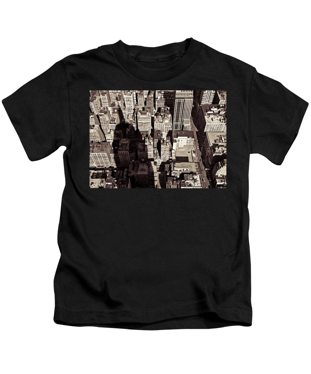 New York Kids T-Shirt featuring the photograph City Shadow by Dave Bowman
