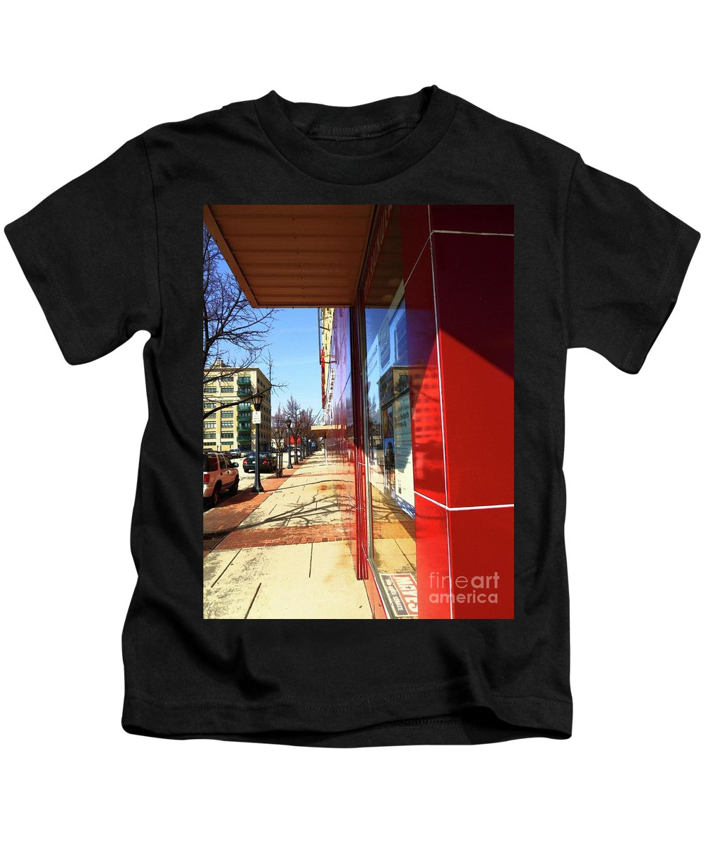 City Sidewalk Kids T-Shirt featuring the photograph City Sidewalk by Desiree Paquette