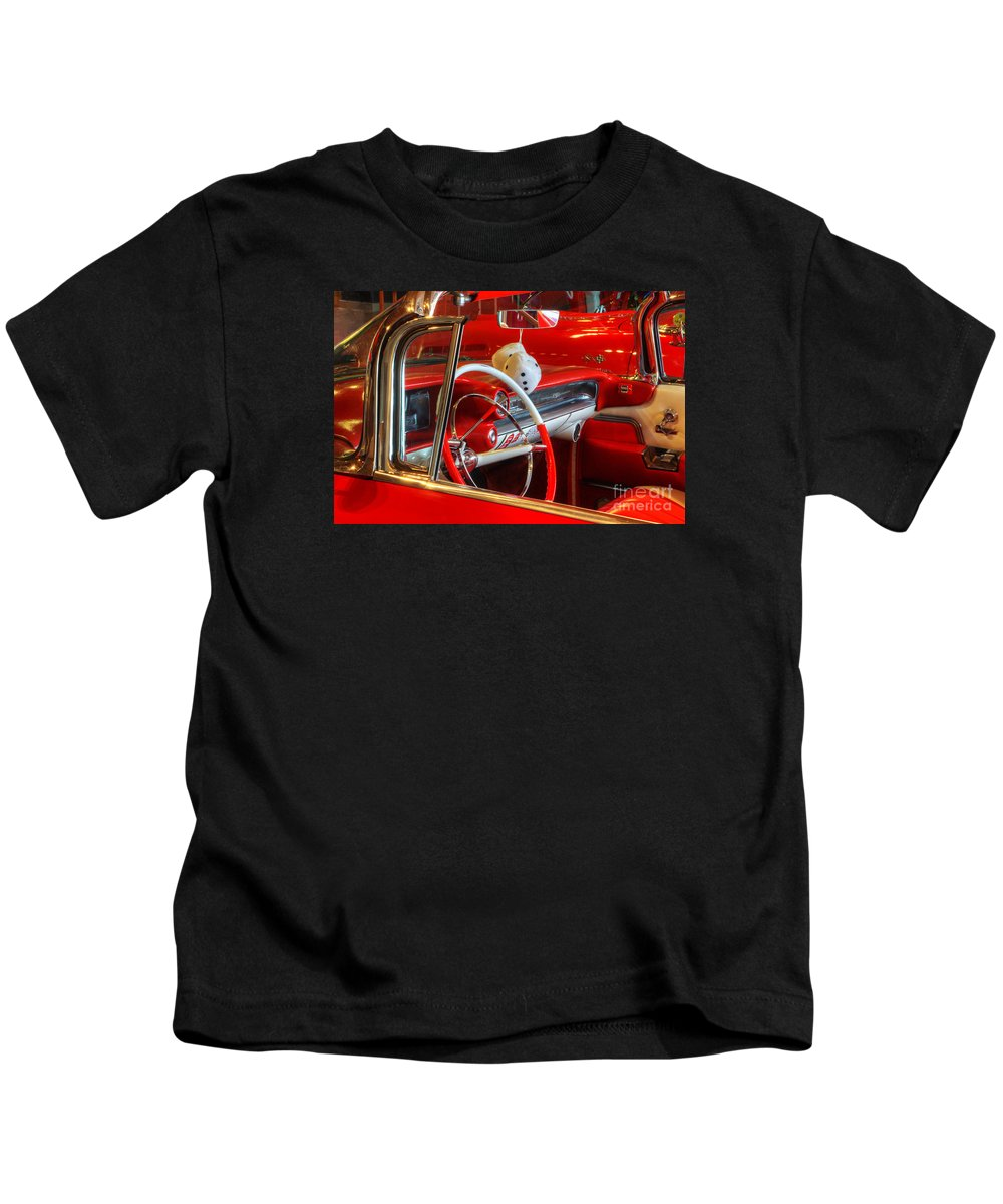 Cars Kids T-Shirt featuring the photograph Classic Cadillac Beauty In Red by Bob Christopher