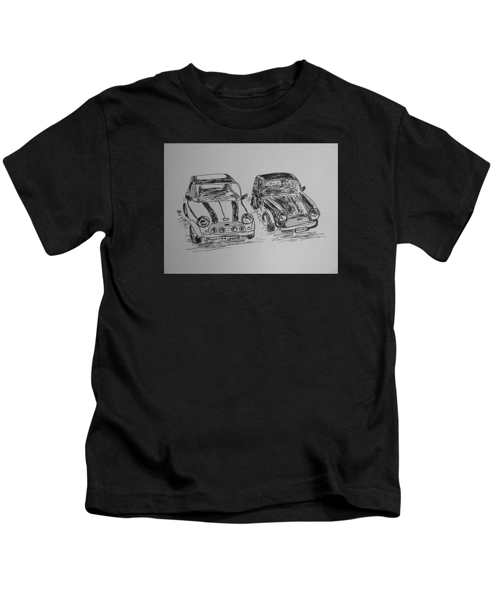 Mini Kids T-Shirt featuring the drawing Classic Minis by Victoria Lakes