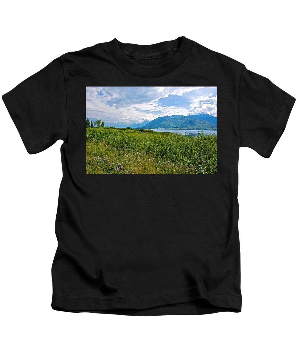 Clouds Over Jackson Lake In Grand Teton National Park Kids T-Shirt featuring the photograph Clouds Over Jackson Lake In Grand Teton National Park-wyoming by Ruth Hager