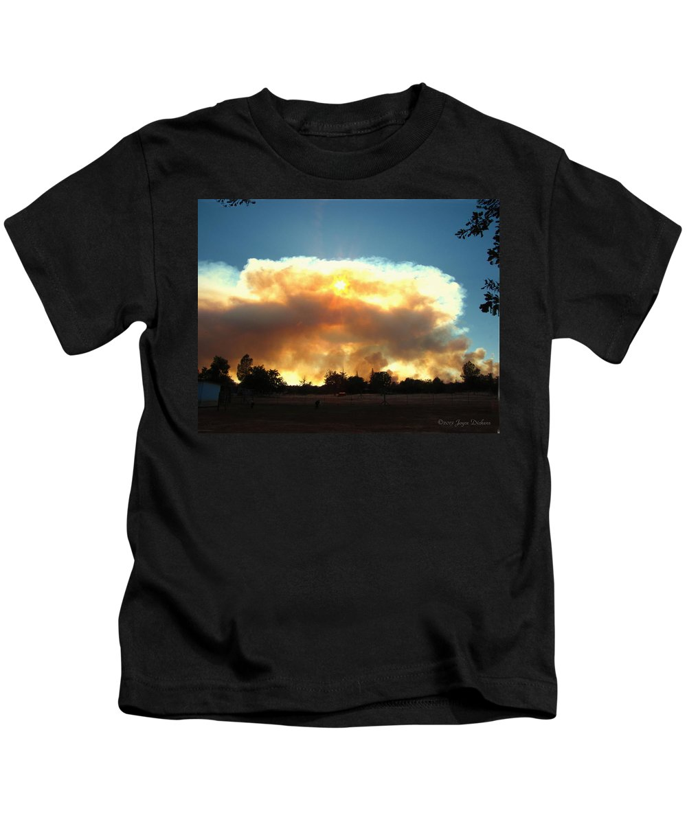 Fire Kids T-Shirt featuring the photograph Clover Fire At 5 25 Pm by Joyce Dickens