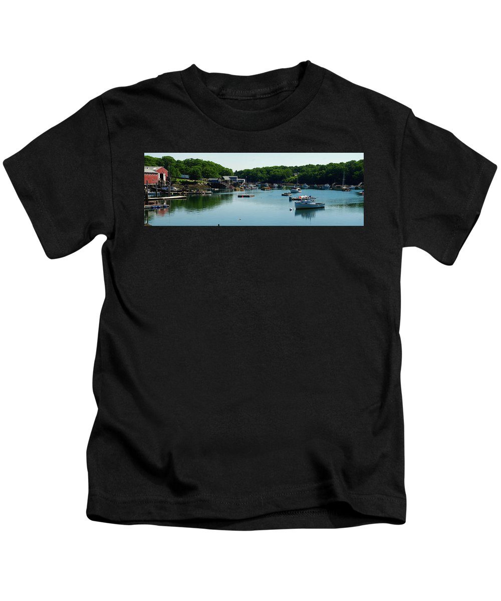 Fog Kids T-Shirt featuring the photograph Coastal Maine Bay by Gary Benson