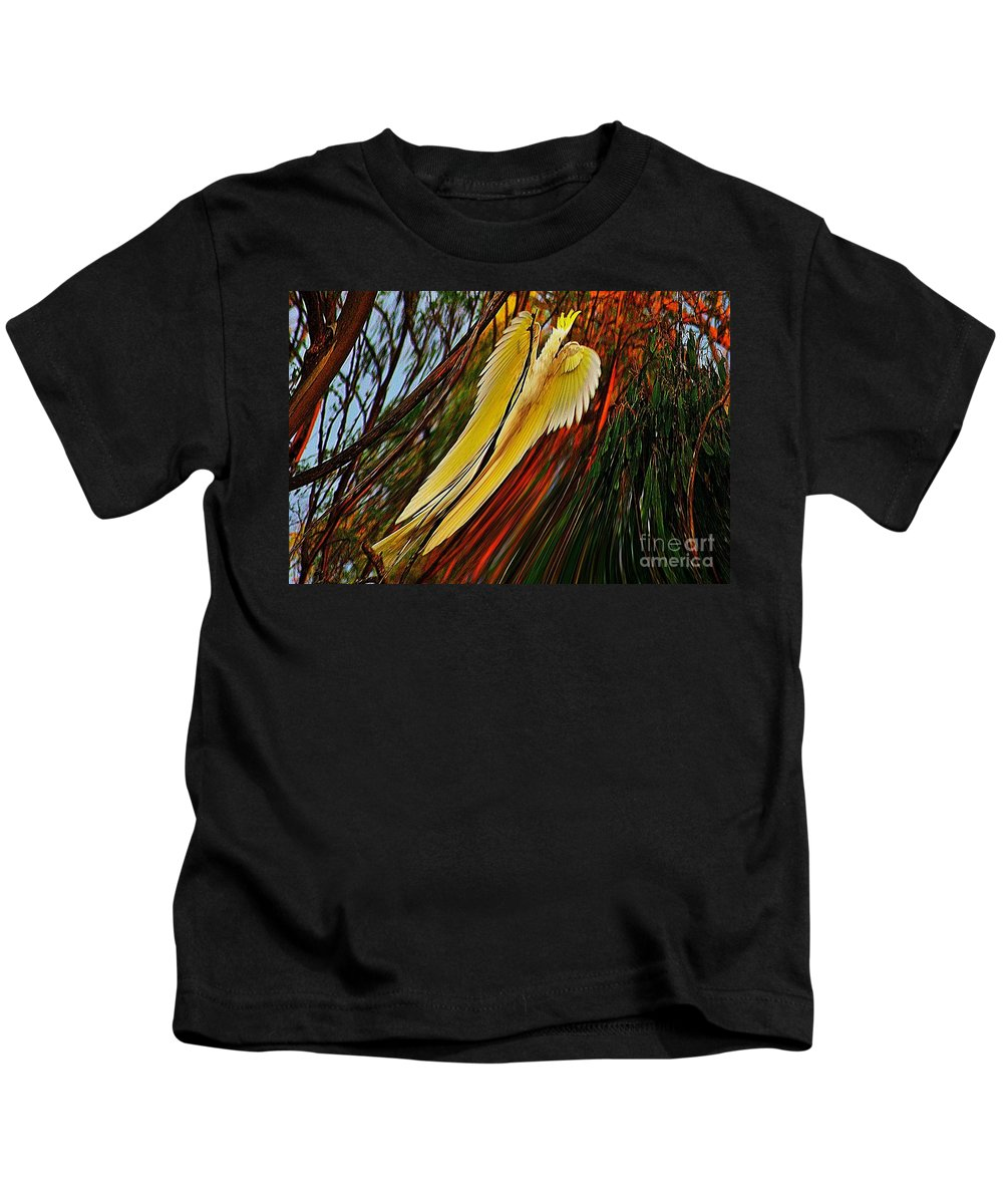 Blair Stuart Kids T-Shirt featuring the photograph Cockatoo In Abstract by Blair Stuart