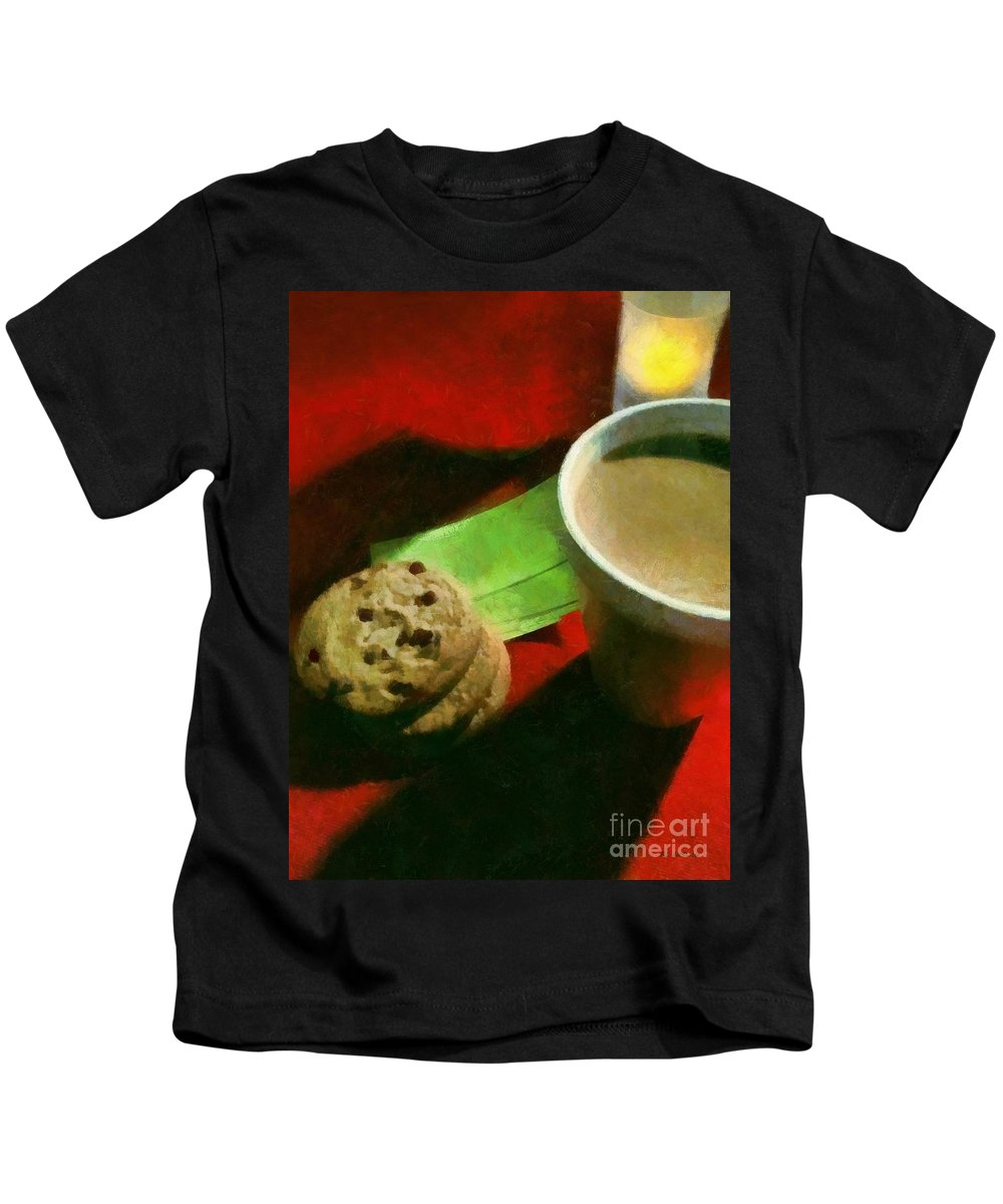 Food Kids T-Shirt featuring the painting Coffee And Cookies At The Cafe by RC DeWinter