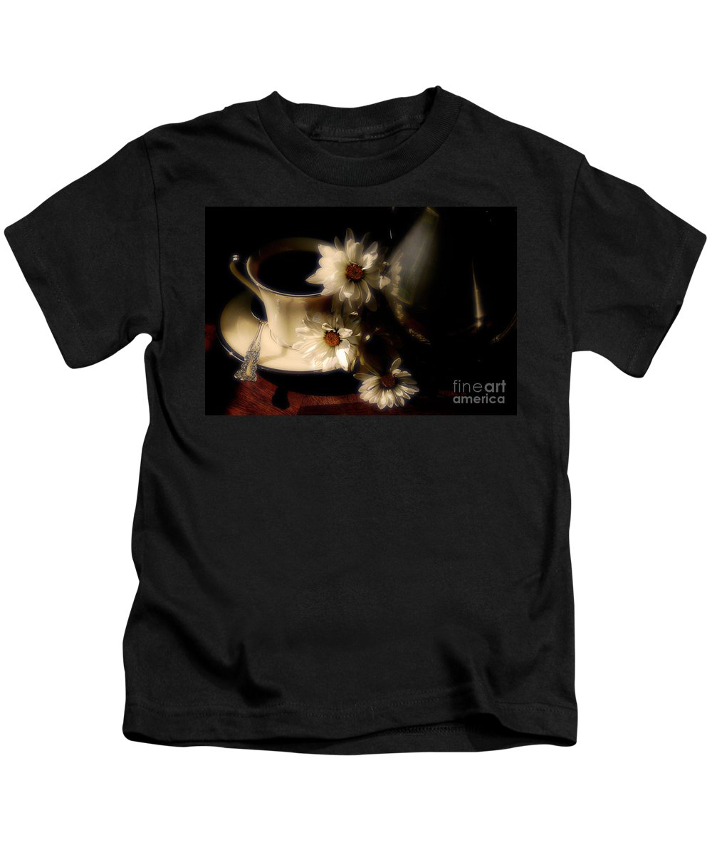 Coffee Kids T-Shirt featuring the photograph Coffee and Daisies by Lois Bryan