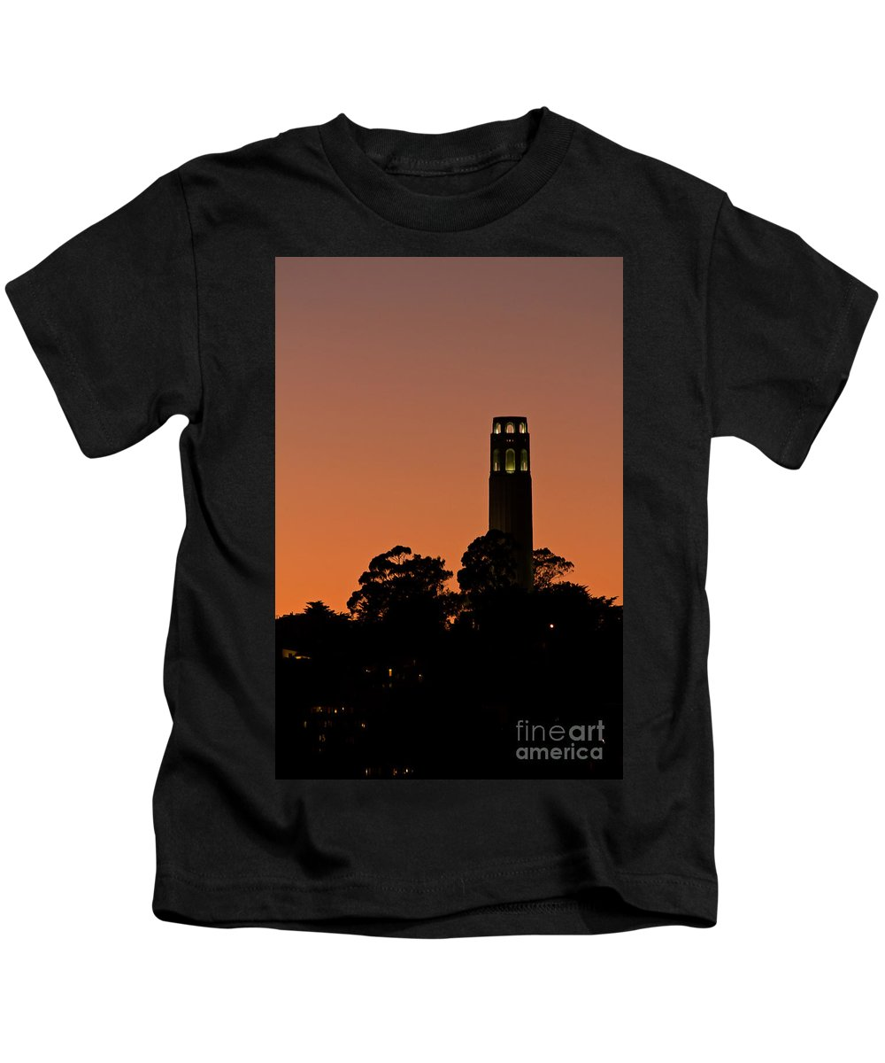 Kate Brown Kids T-Shirt featuring the photograph Coit Tower Sunset by Kate Brown