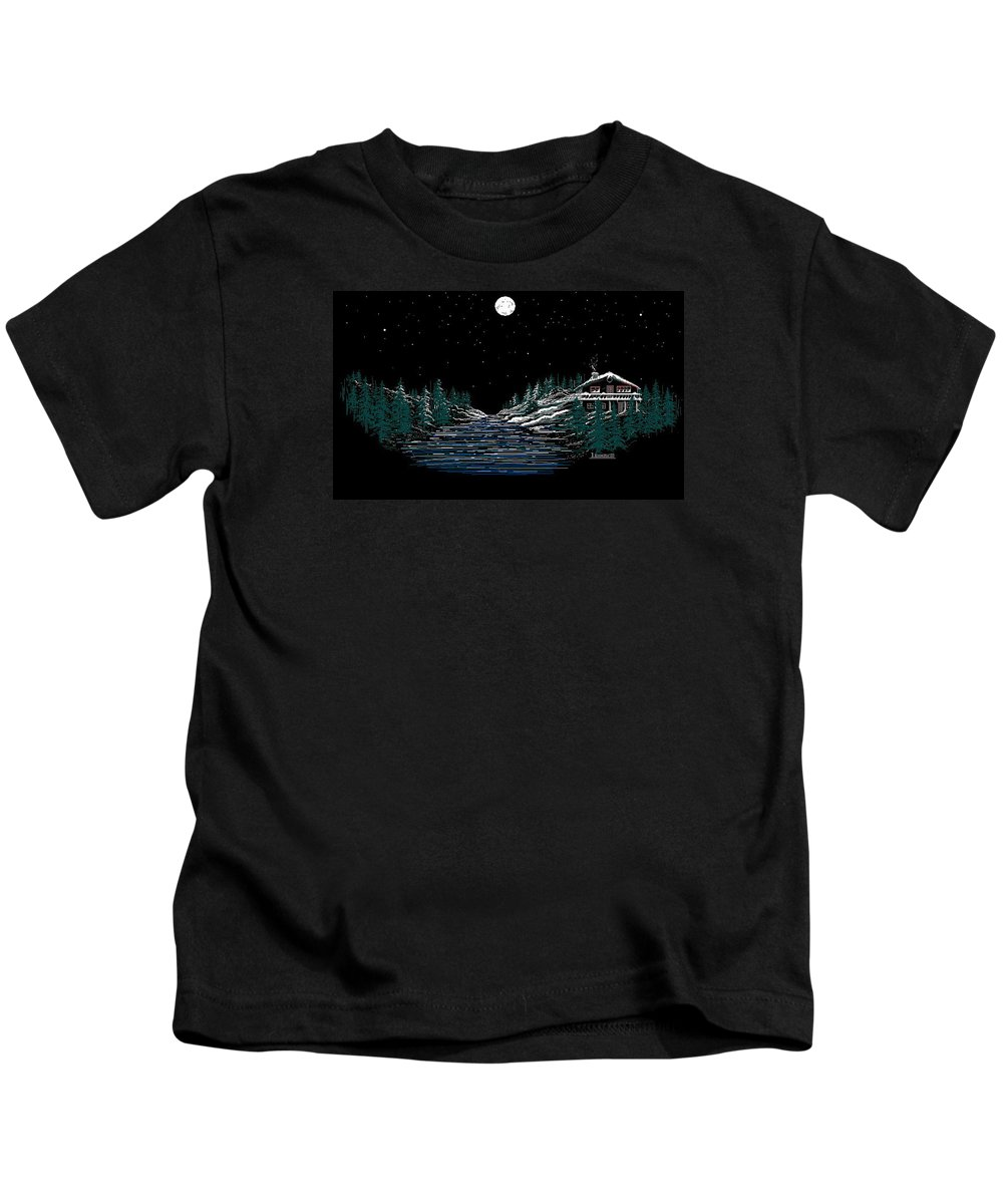 Cold Mountain Winter Kids T-Shirt featuring the digital art Cold Mountain Winter by Larry Lehman