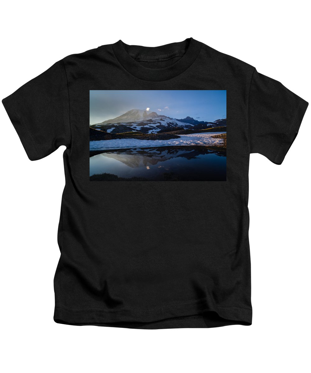 Rainier Kids T-Shirt featuring the photograph Cold Water Mountain by Mike Reid
