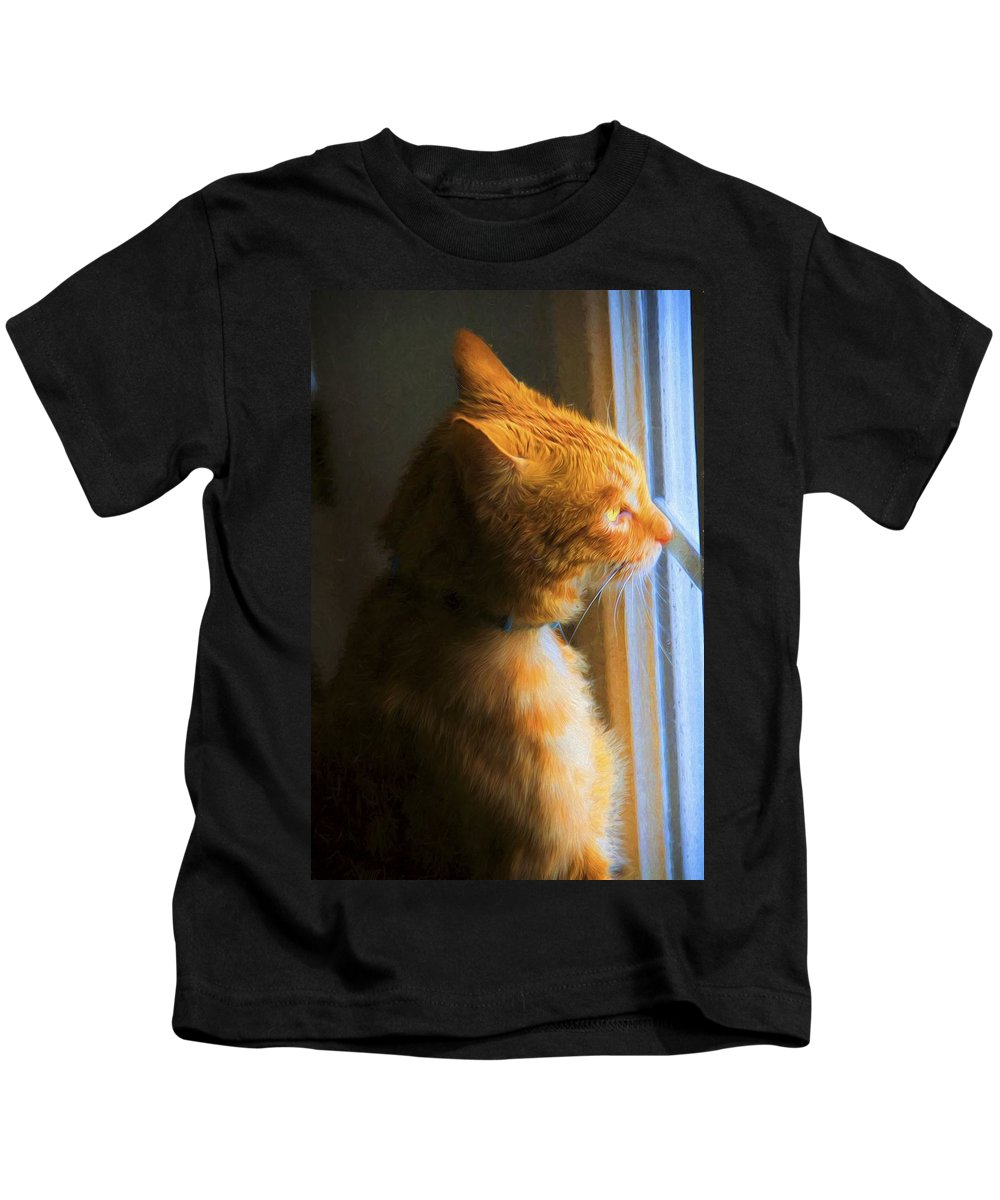 Cat Kids T-Shirt featuring the photograph Colekitty On The Lookout by Alice Gipson