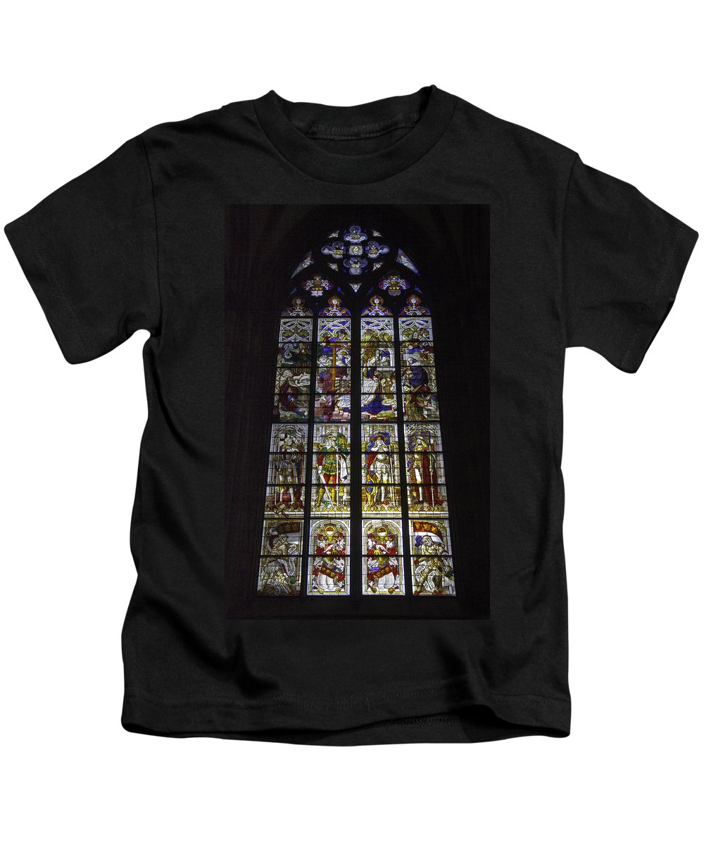 Cologne Cathedral Kids T-Shirt featuring the photograph Cologne Cathedral Stained Glass Window Of The Nativity by Teresa Mucha