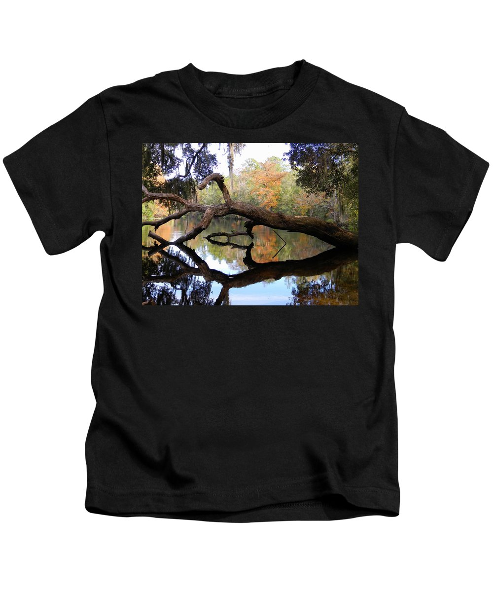 Color Beyond The Branches Kids T-Shirt featuring the photograph Color Beyond The Branches by Warren Thompson