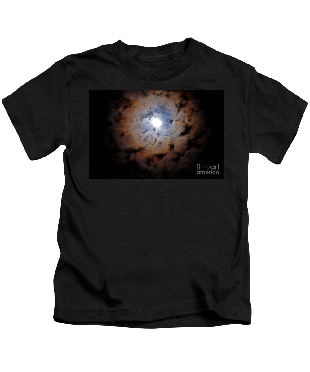 Cloud Kids T-Shirt featuring the photograph Color Ring Around The Moon by Jay Milo