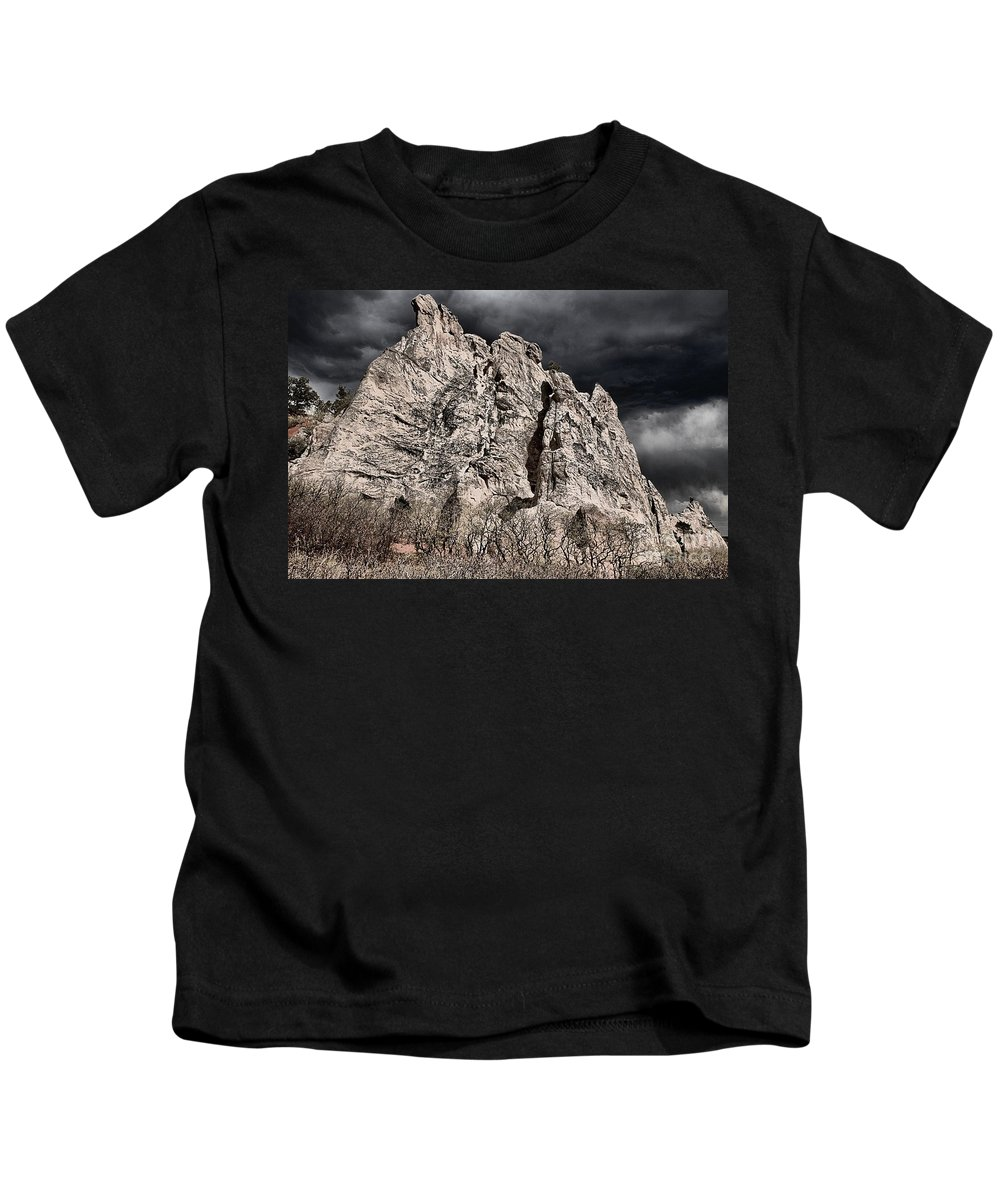 Garden Of The Gods Kids T-Shirt featuring the photograph Colorado Monsoon Clouds by Adam Jewell