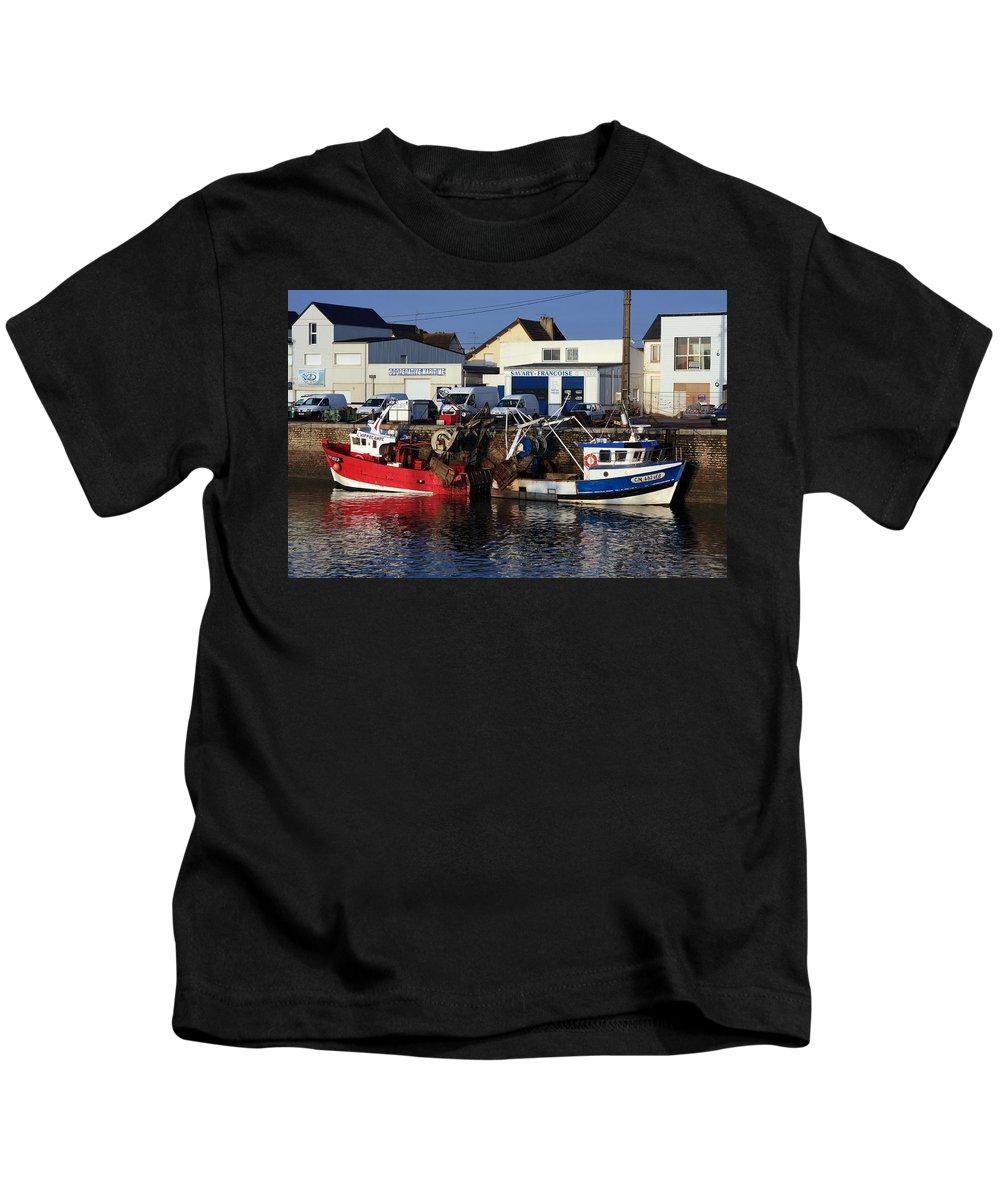 Boat Kids T-Shirt featuring the photograph Colorful Fishing Boats by Aidan Moran