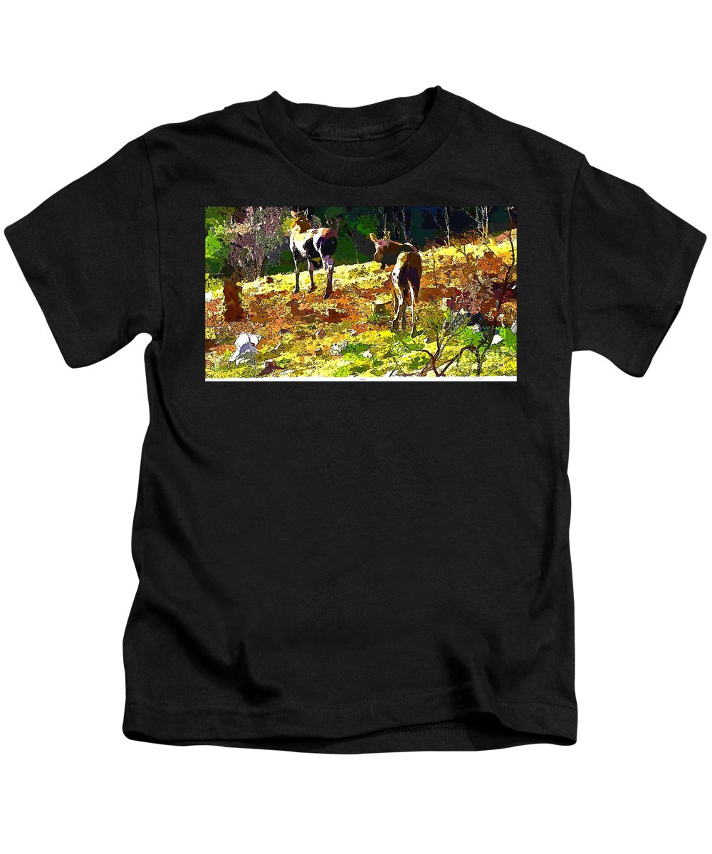 Colorful Moose Kids T-Shirt featuring the photograph Colorful Moose by Barbara Griffin
