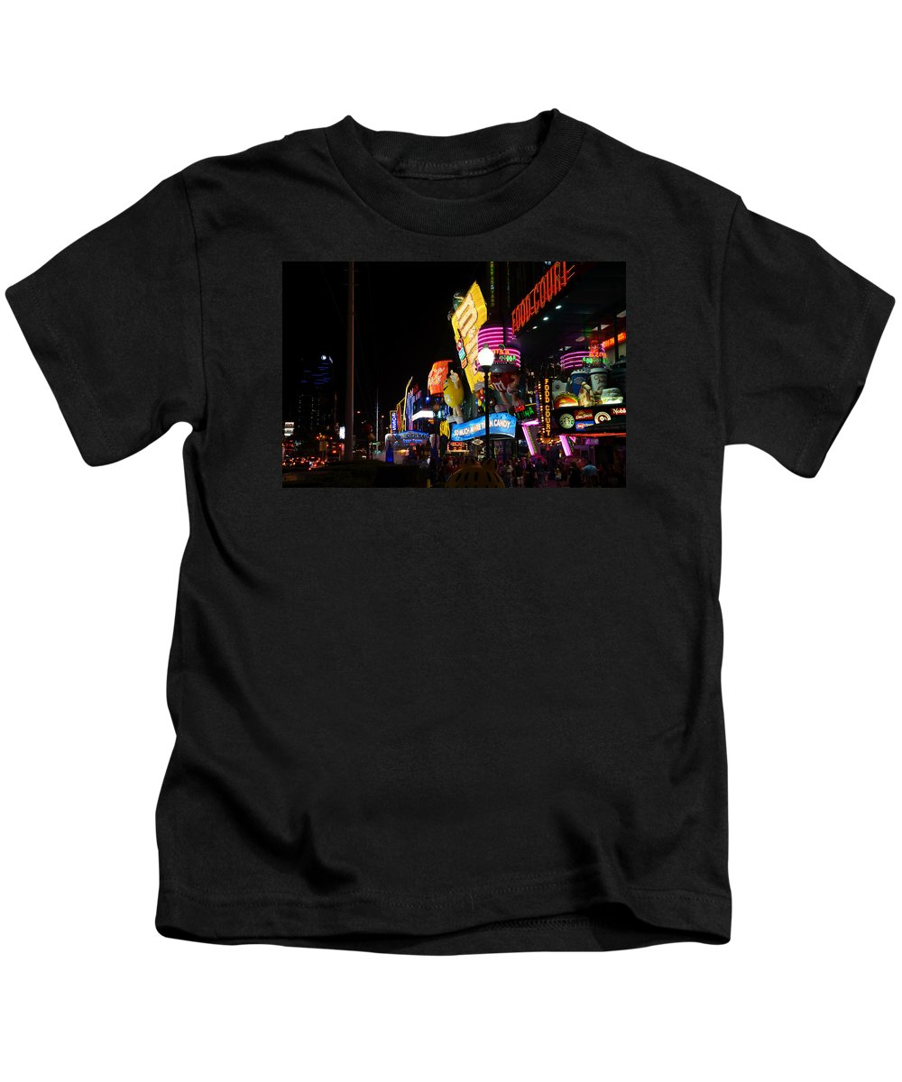 Neon Kids T-Shirt featuring the photograph Colors Of Las Vegas by RicardMN Photography