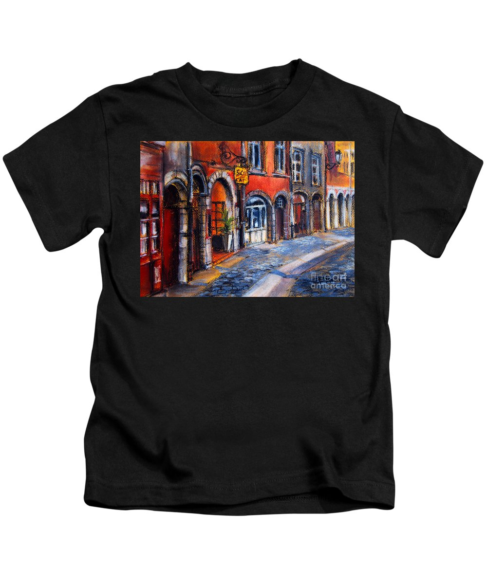 Lyon Kids T-Shirt featuring the painting Colors Of Lyon 2 by Mona Edulesco