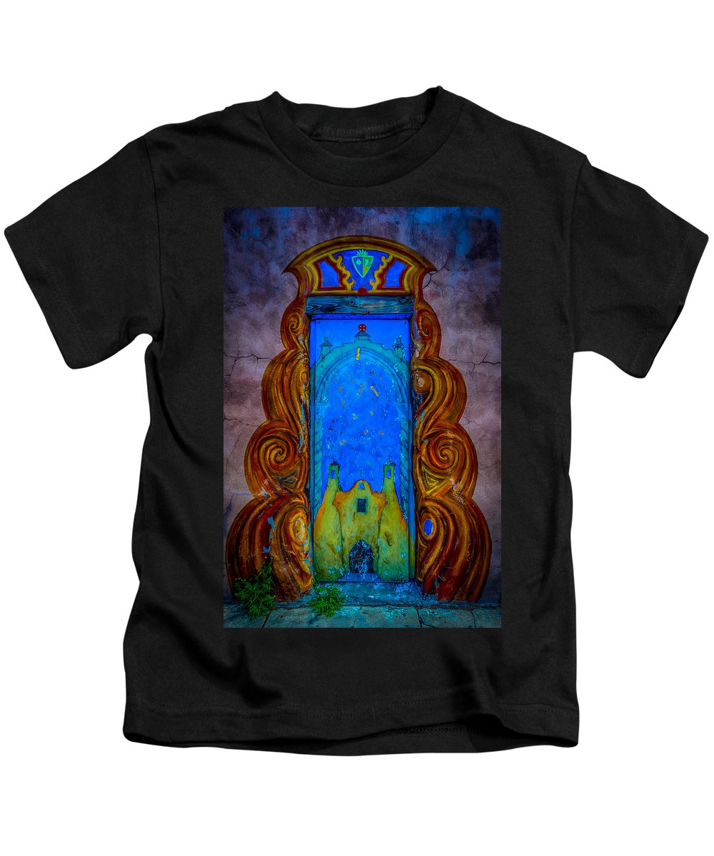 Colourful Kids T-Shirt featuring the photograph Colourful Doorway Art On Adobe House by Gareth Burge Photography