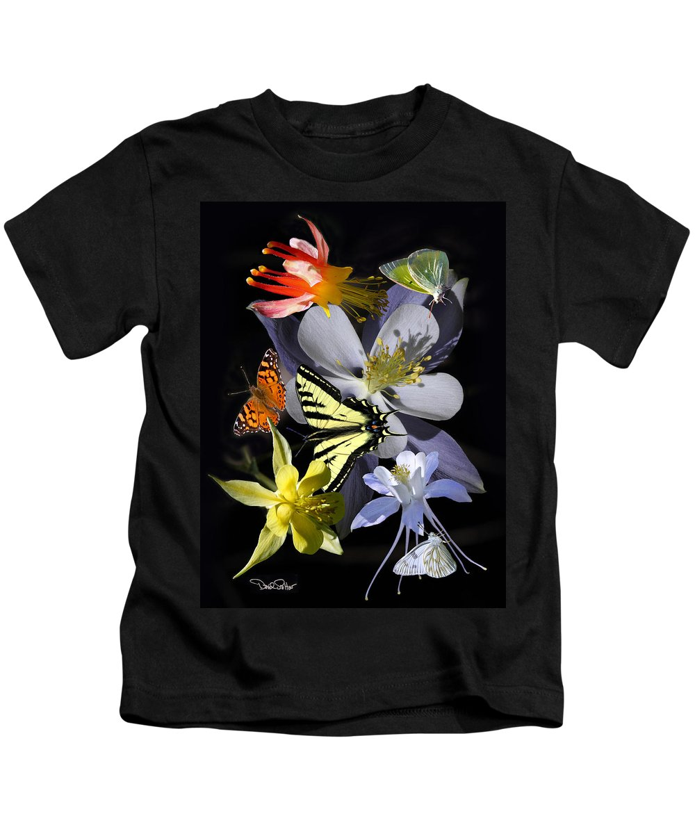 Nature Kids T-Shirt featuring the photograph Columbine And Butterfly Collage by David Salter