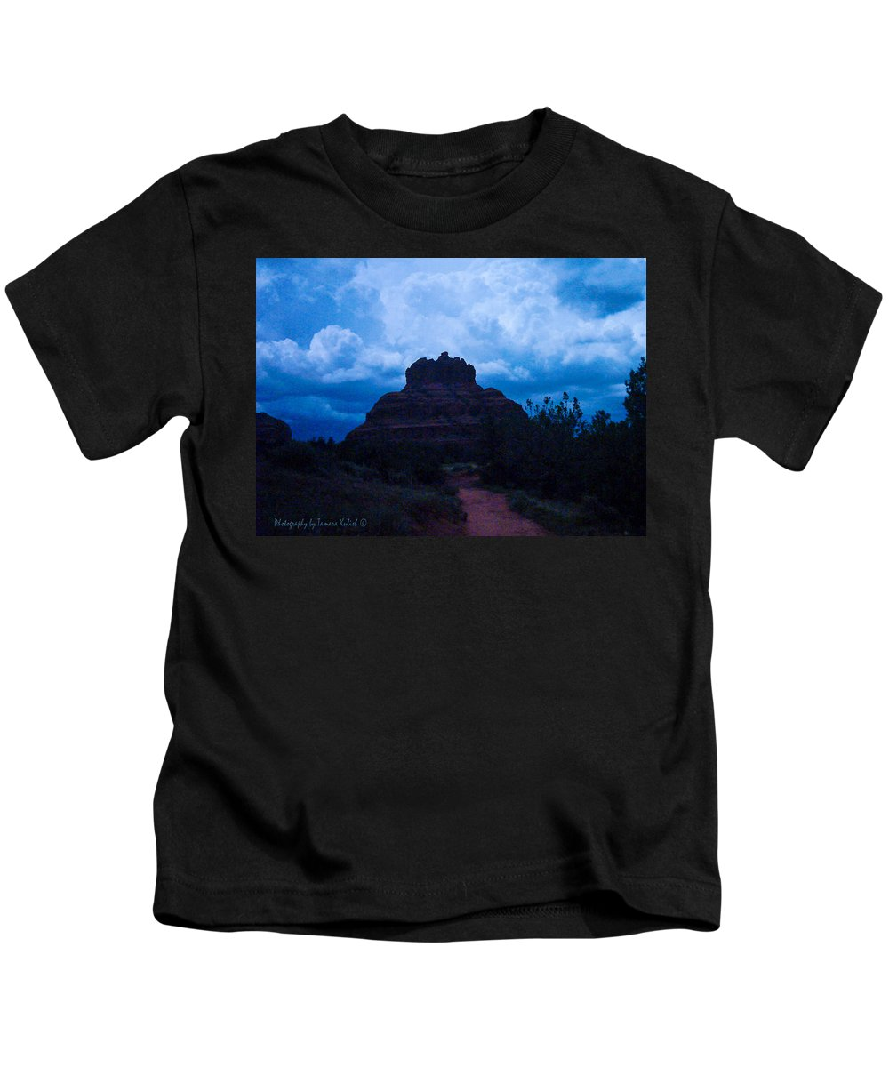 Photo Kids T-Shirt featuring the photograph Coming Storm Bell Rock by Tamara Kulish