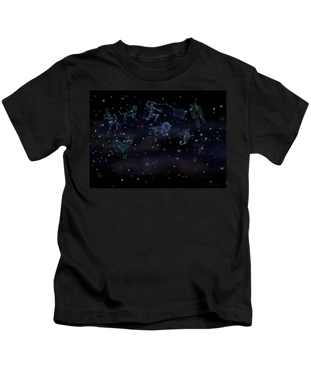 Constellations Kids T-Shirt featuring the digital art Constellations by Kevin Middleton