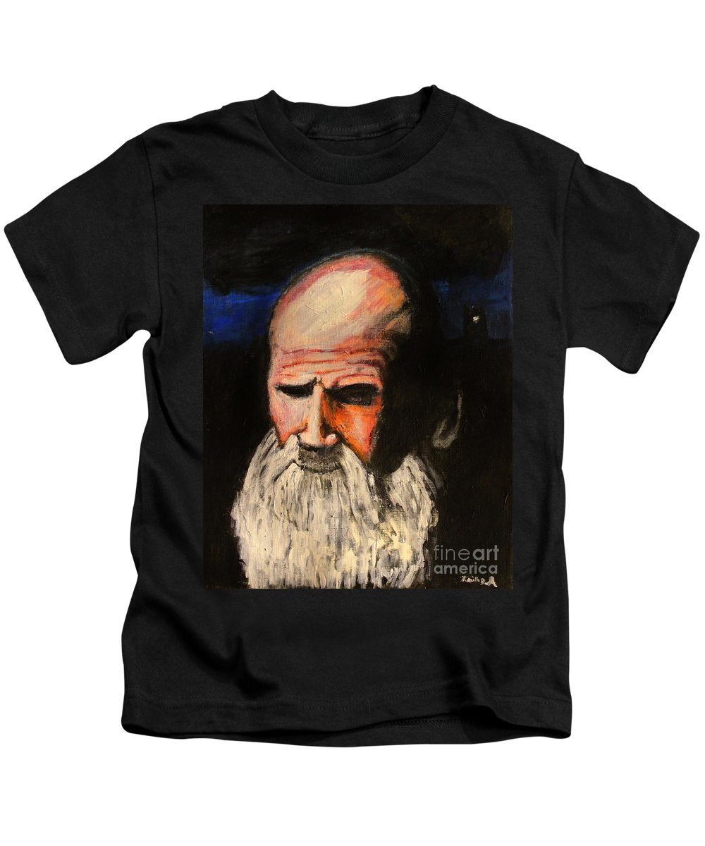 Abraham Kids T-Shirt featuring the painting Contemplation by Keith Baugh