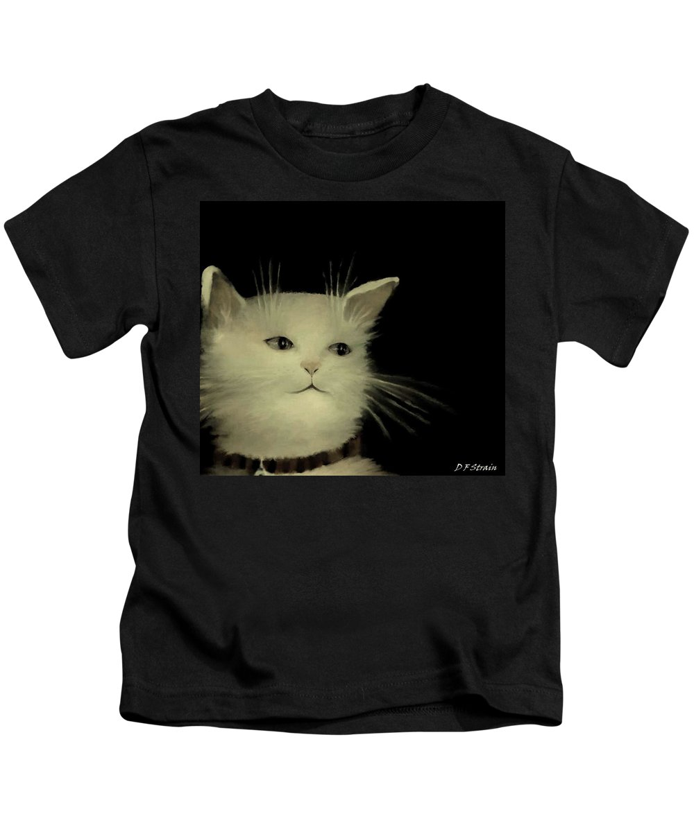 Diane Strain Kids T-Shirt featuring the painting Contemplative Cat  No.2 by Diane Strain