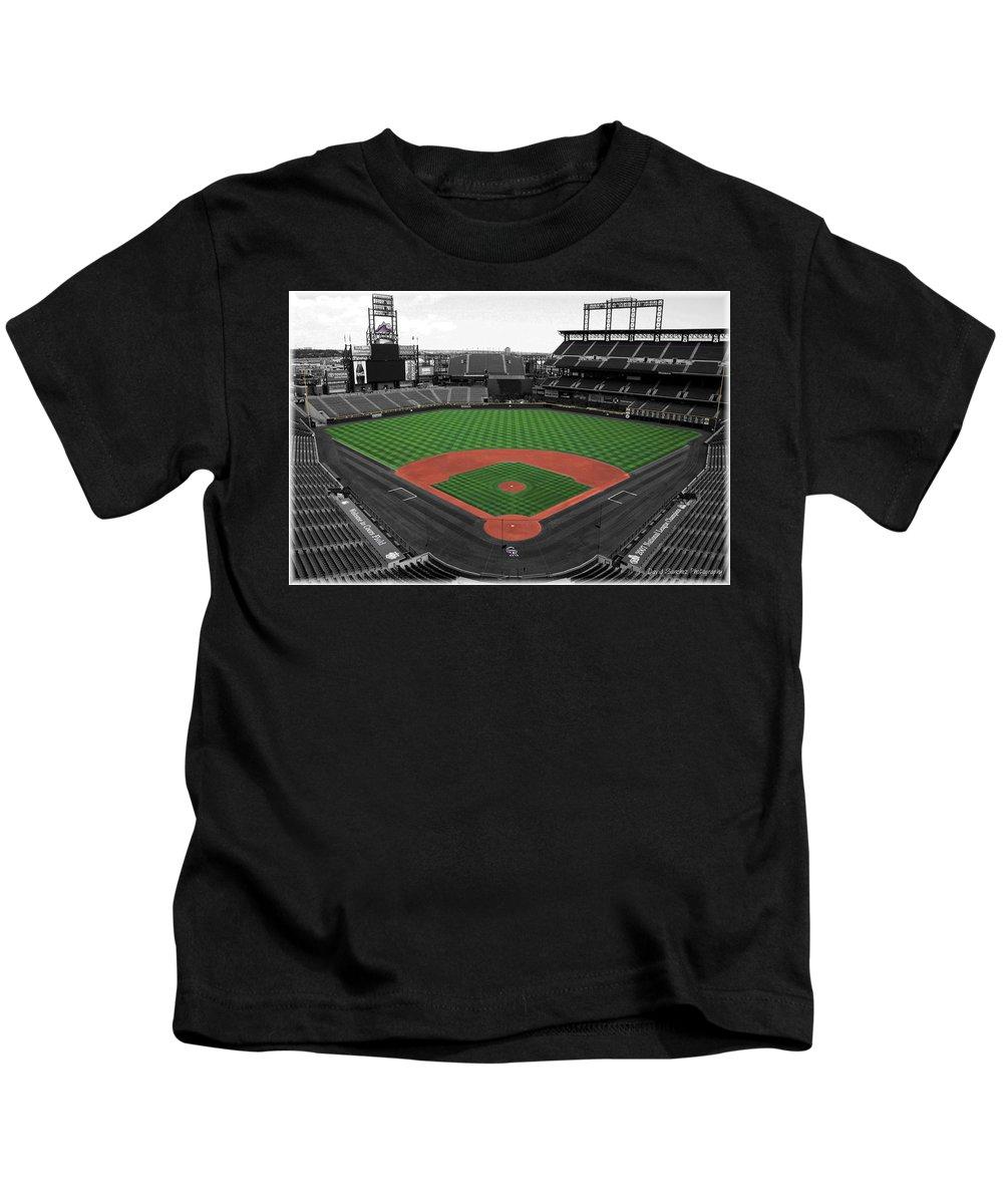 Baseball Kids T-Shirt featuring the photograph Coors Field 2 by David Sanchez